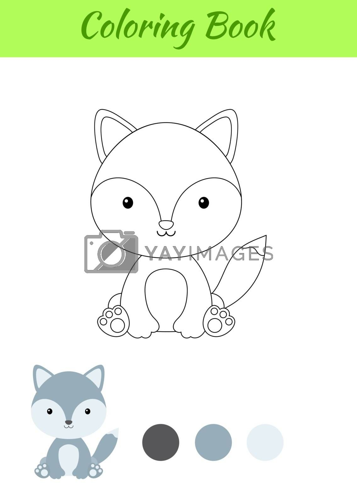 Coloring page little sitting baby wolf. Coloring book for kids.  by Melnyk