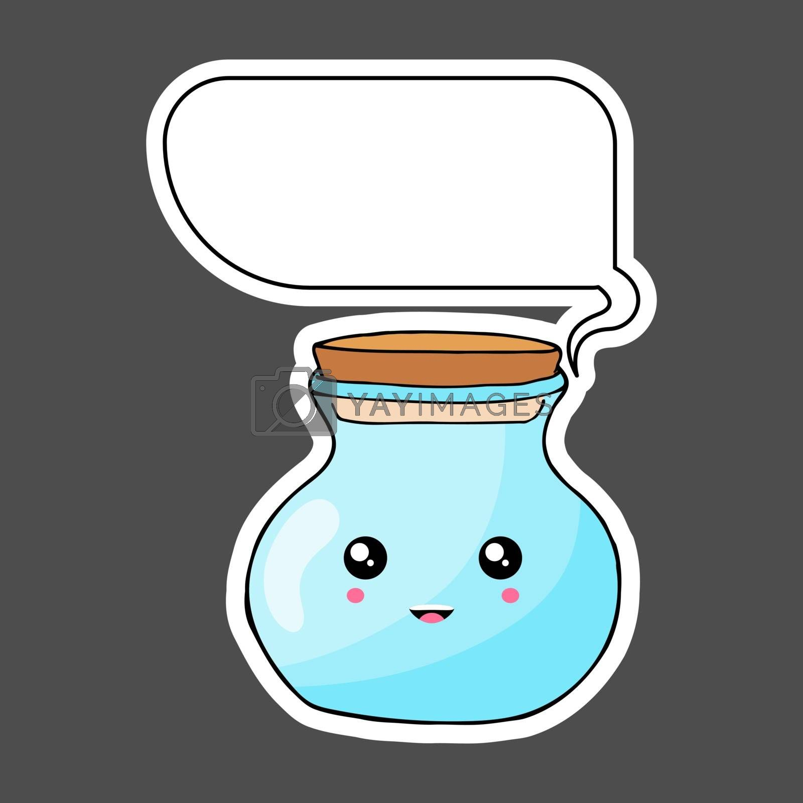 Kawaii sticker colorful cartoon jar with thought bubble. Vector illustration isolated on dark background.