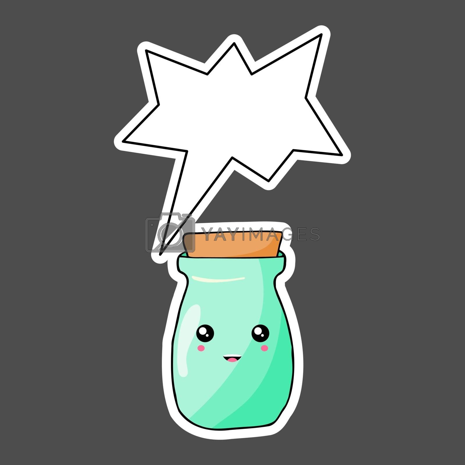 Kawaii sticker colorful cartoon jar with thought bubble. Vector  by Olena92