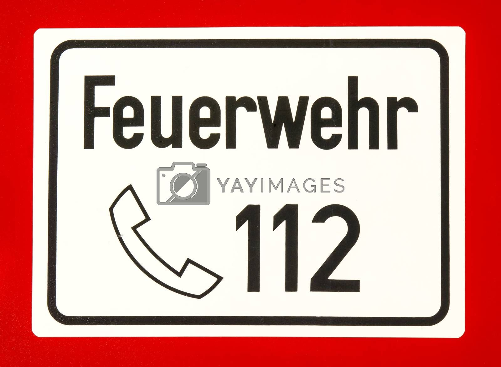 112, European emergency number of fire department and ambulance