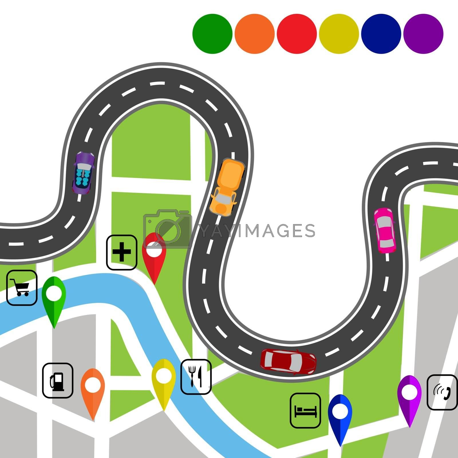 Road infographics. Winding road with signs. The path specifies the navigator. Vector illustration