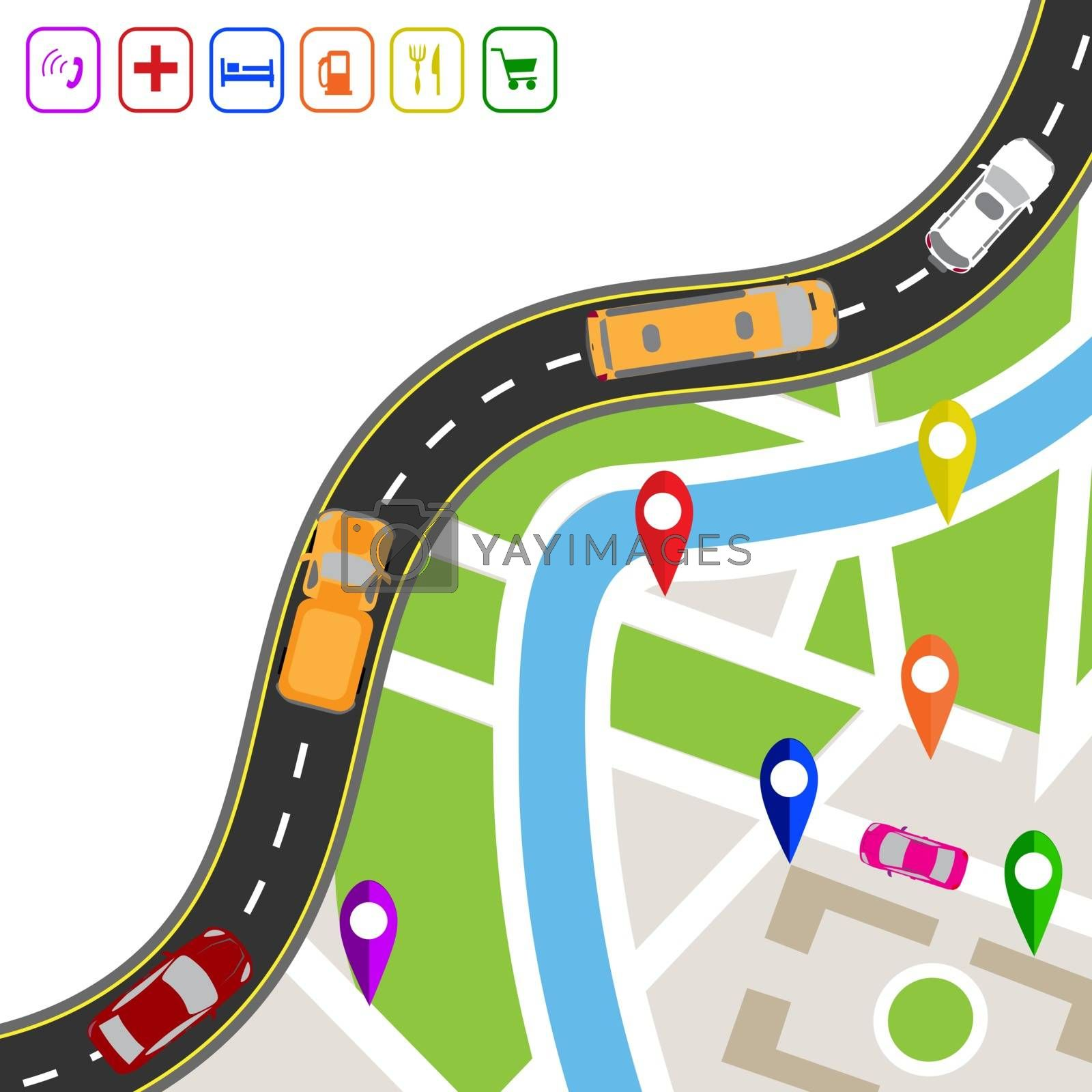 Road infographics. Winding road with markers on the map terrain. The path specifies the navigator. Displaying traffic car illustration by lilystudio