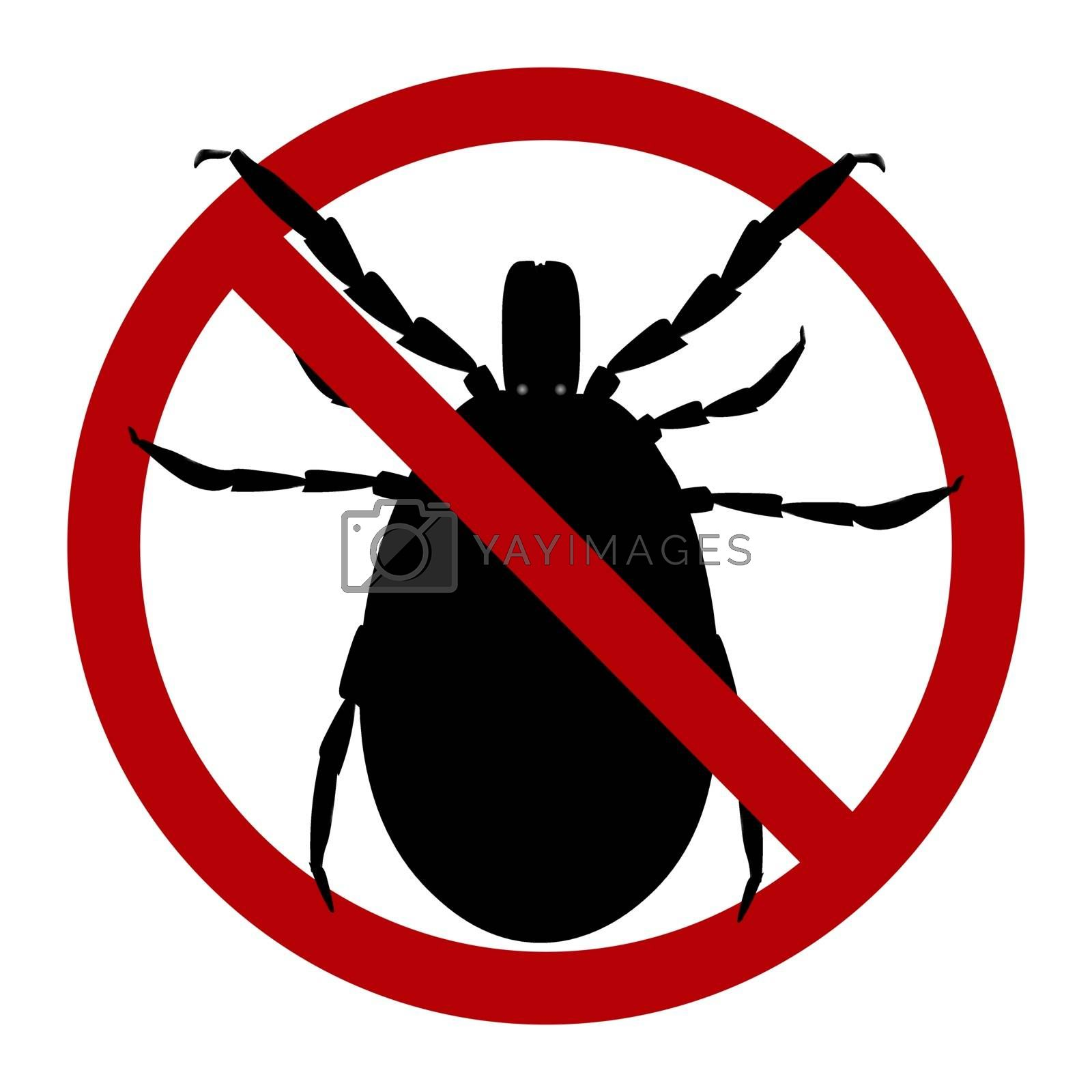 Warning sign. harvest bug in a red circle. Vector illustration