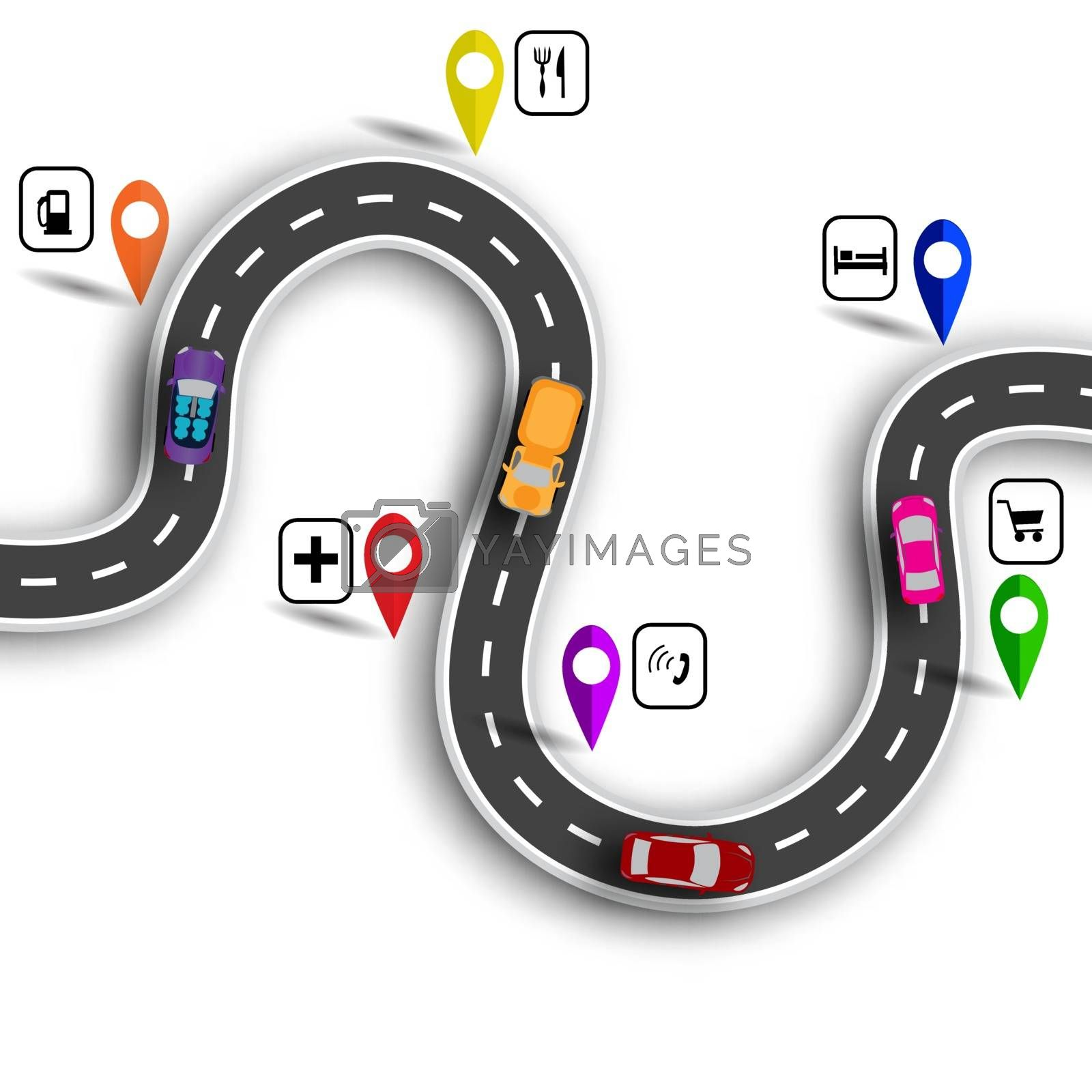 Infographic. Winding road with signs. 3D. Cars. The path indicated by the navigator. Vector illustration