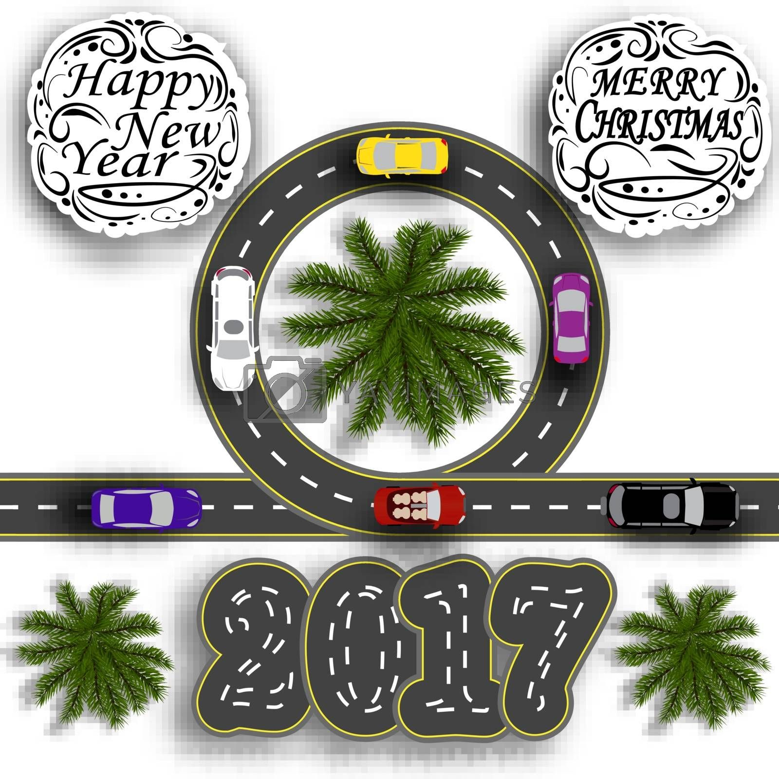 Road with a marking. Cars. Inscription Happy New Year 2017 and Merry Christmas. Vector illustration