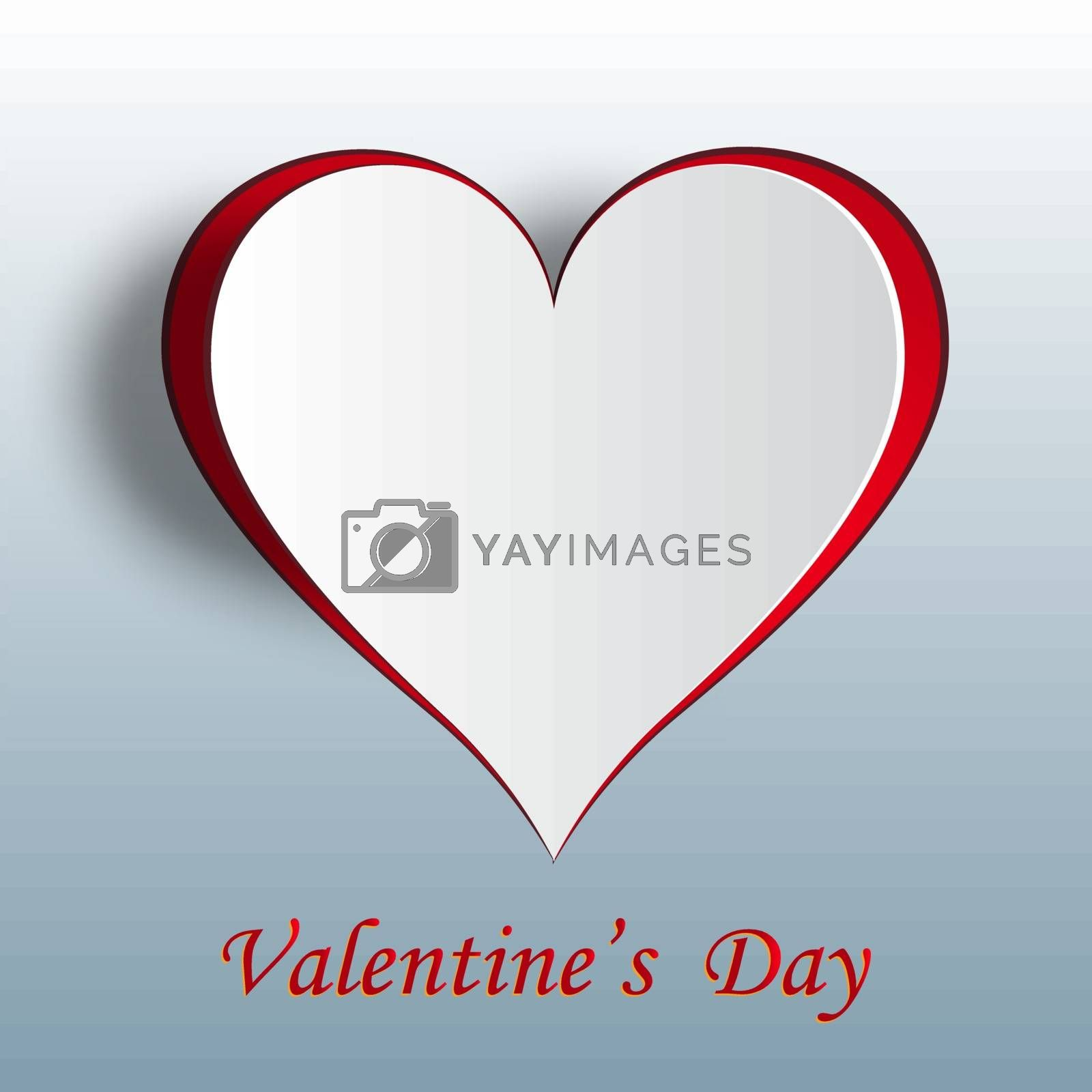 Valentine heart on a gradient background. Cut out the paper. Greeting inscription on the card. Vector illustration