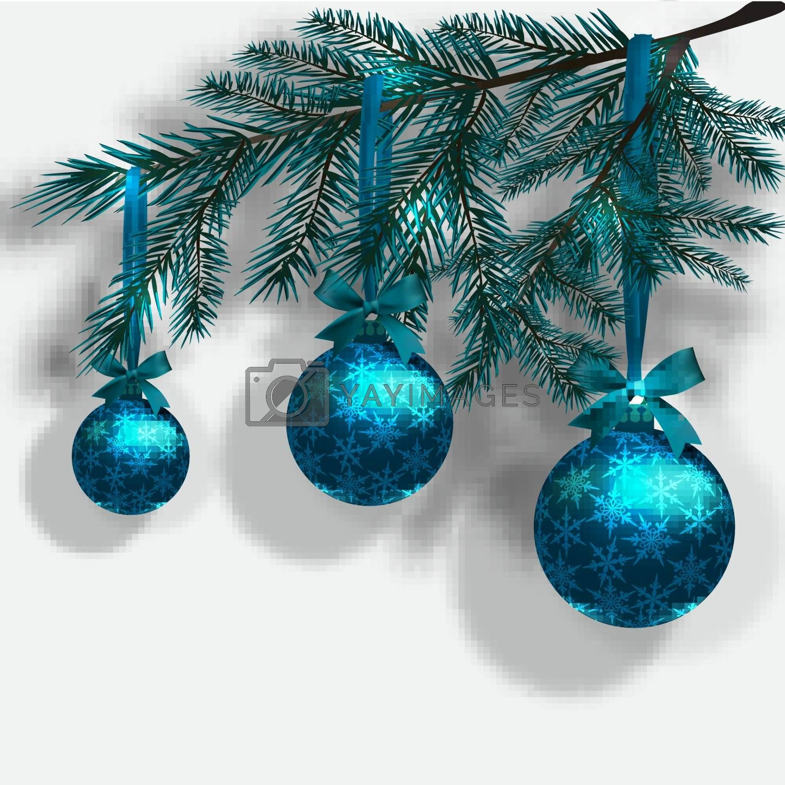 Blue Christmas tree branches on an isolated white background with shadow. Three blue ball with snowflakes and ribbon bow. Vector illustration