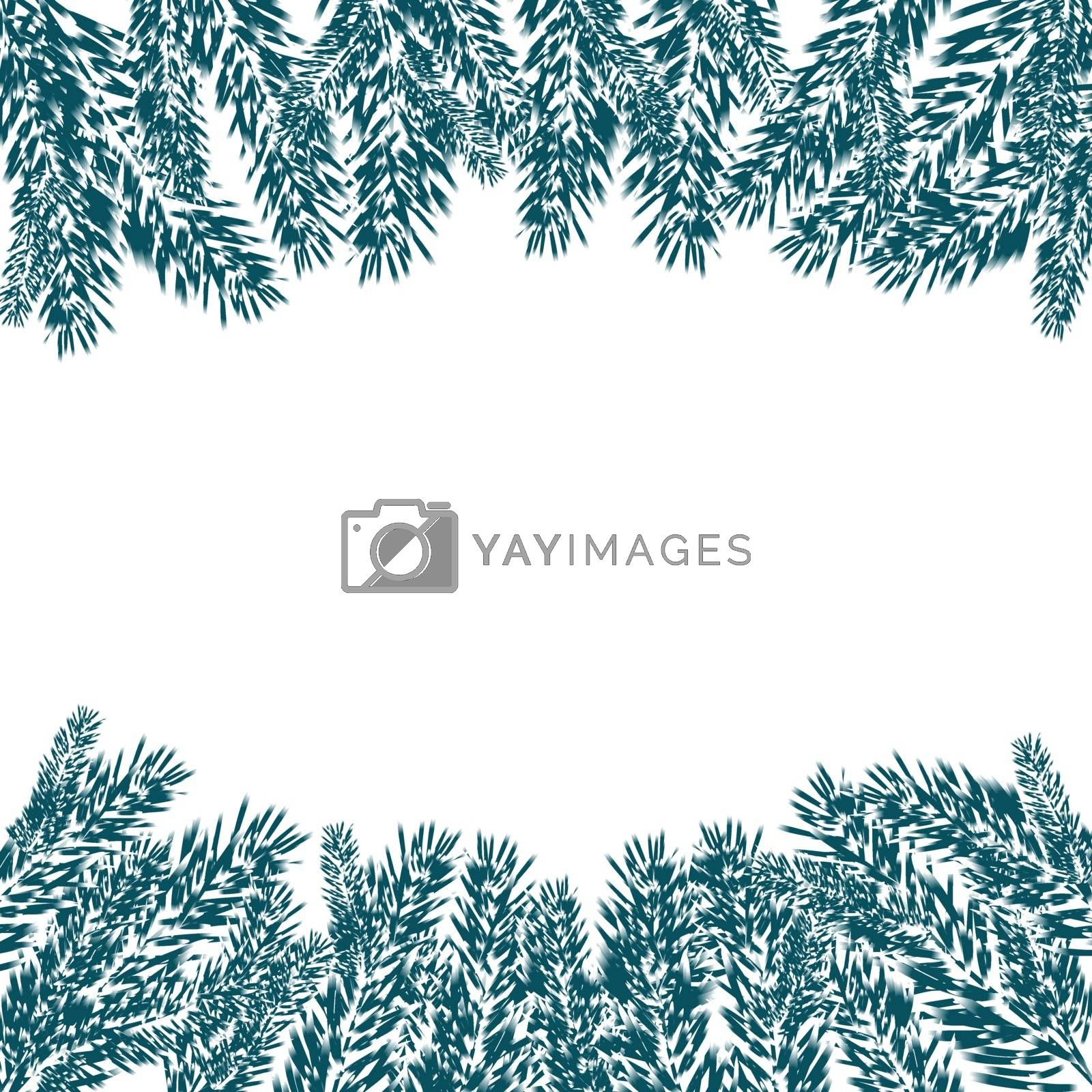 Blue, realistic fir branches in the snow in cold weather. Fir branches with the top and bottom of the picture. Isolated on white background. Christmas vector illustration