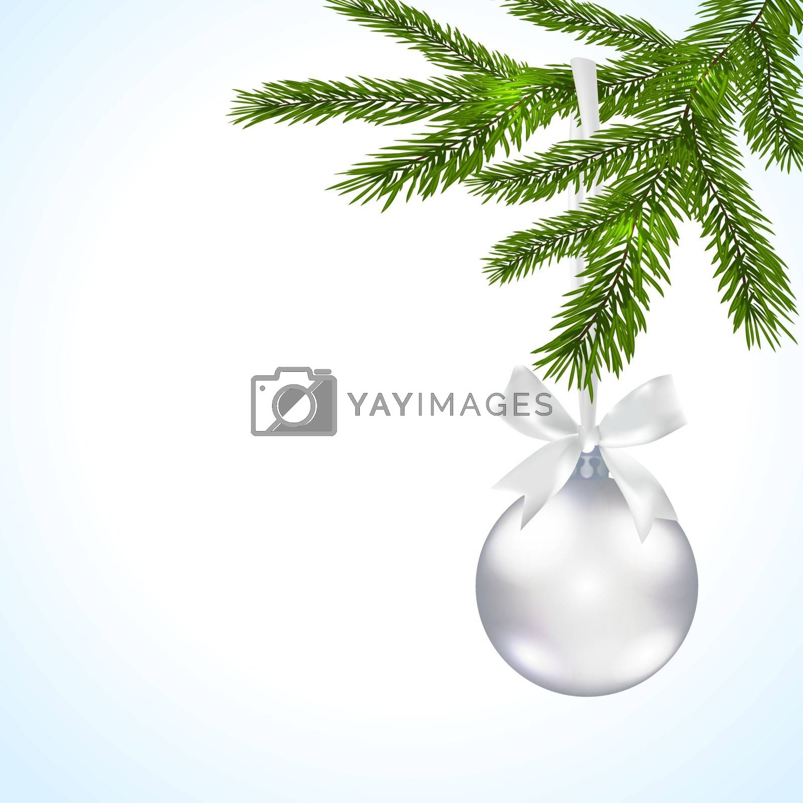 Green branches of a Christmas tree with silver balls and ribbon on a white background decorations. Vector illustration