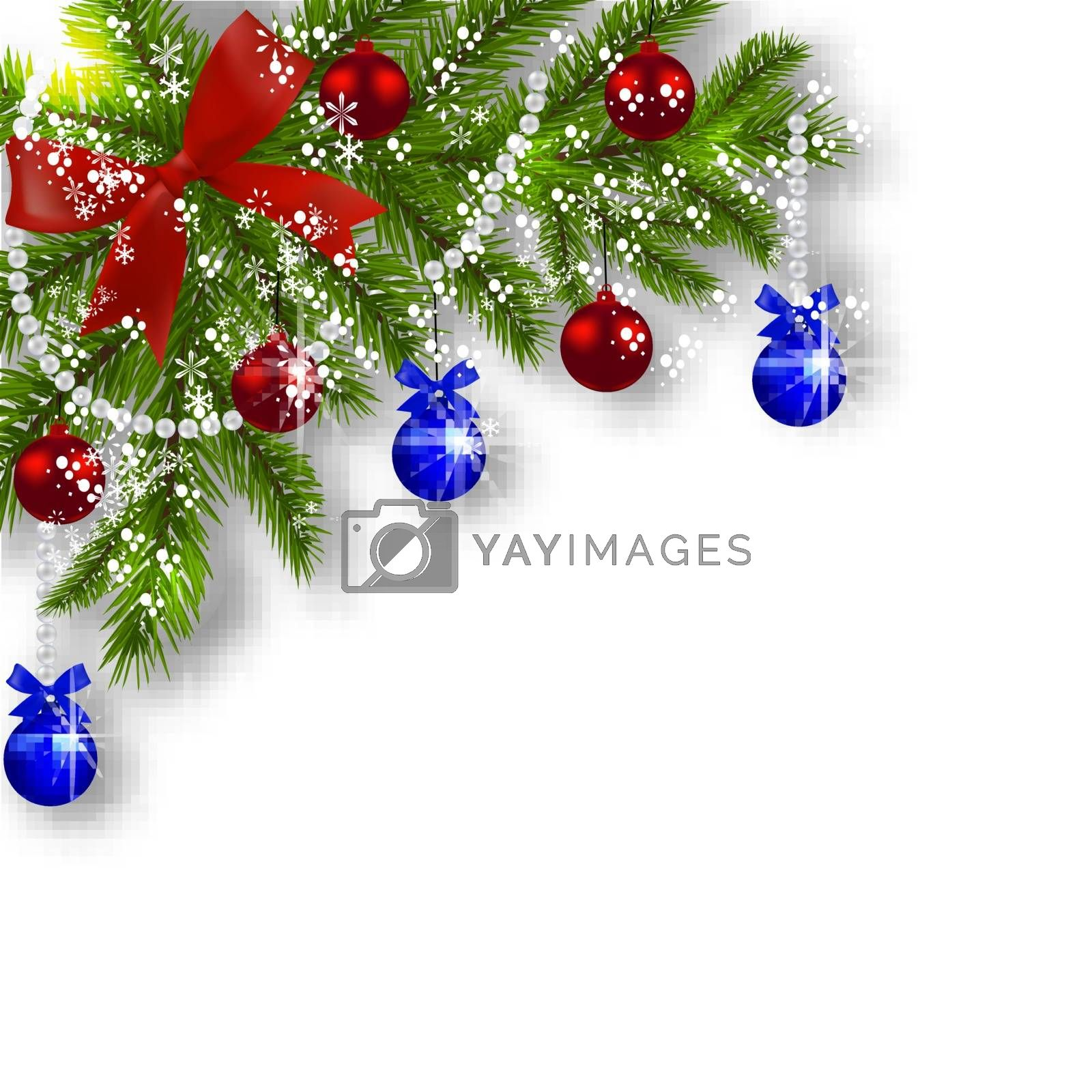 Christmas card. Green branches of a Christmas tree with blue, red balls and ribbon on a white background. Corner with shadow and snowflakes. Christmas decorations. Vector illustration