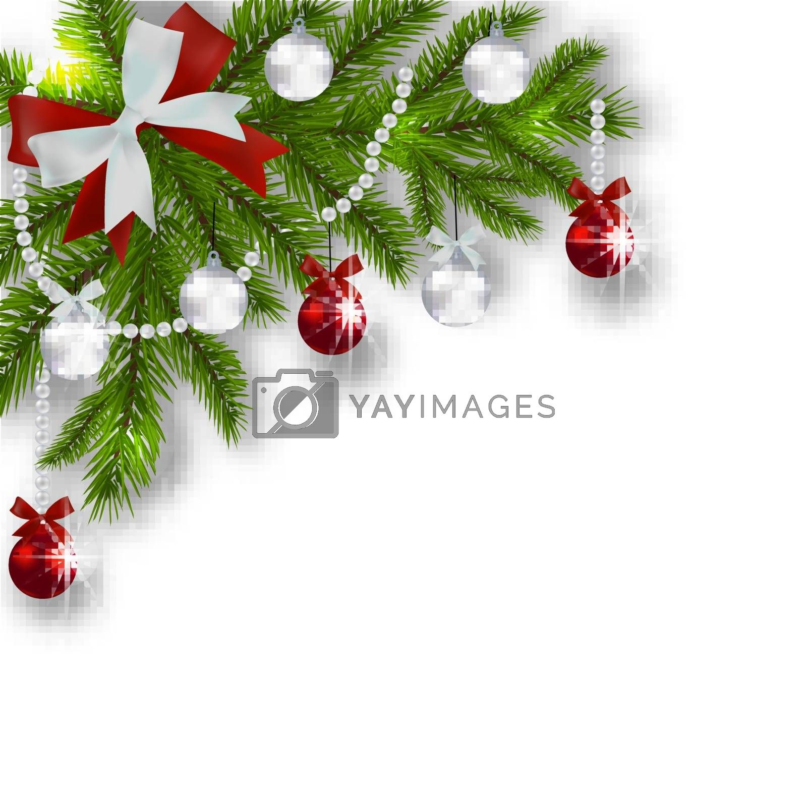 Christmas card. Green branches of a Christmas tree with silver, red balls and ribbon on a white background. Angular with a shadow. Christmas decorations. Vector illustration