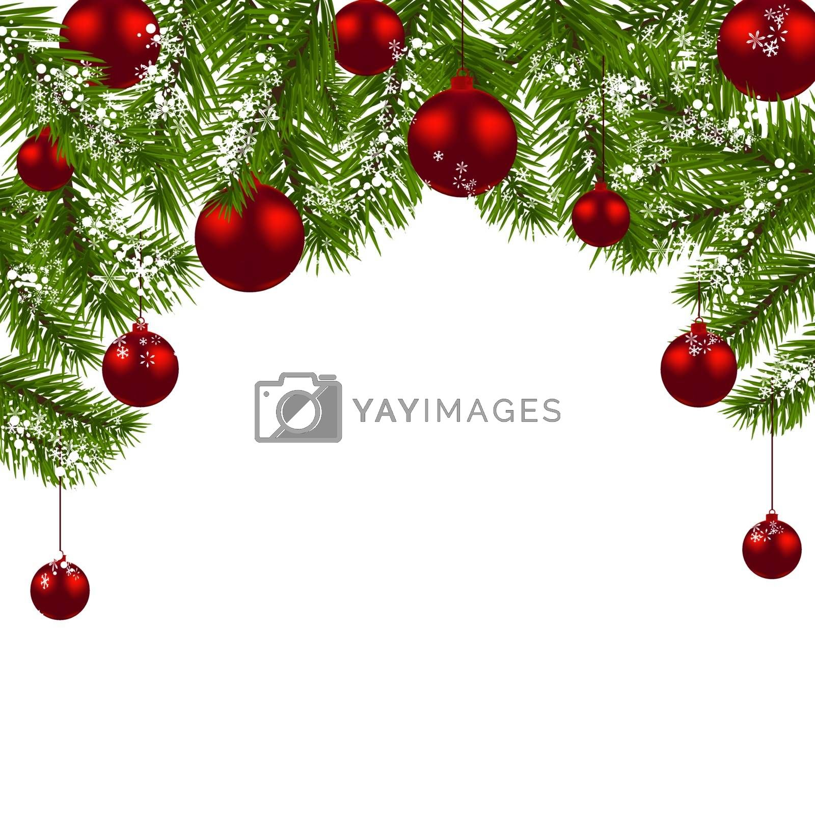 Christmas card. Green branches of a Christmas tree with red balls and snowflakes on a white background. New Year decoration. Vector illustration