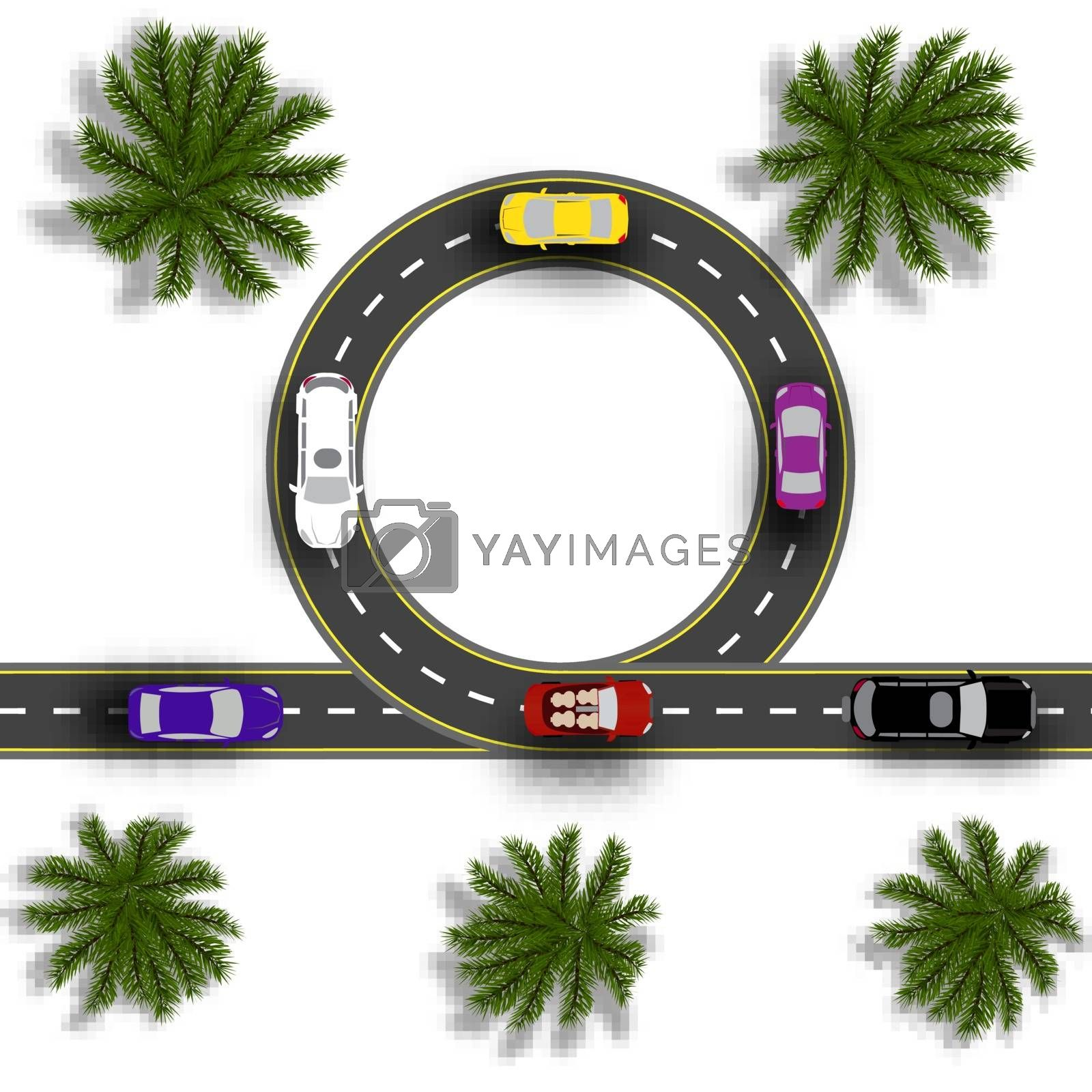 Road with a marking. Cars. Realistic tree top view. Vector illustration