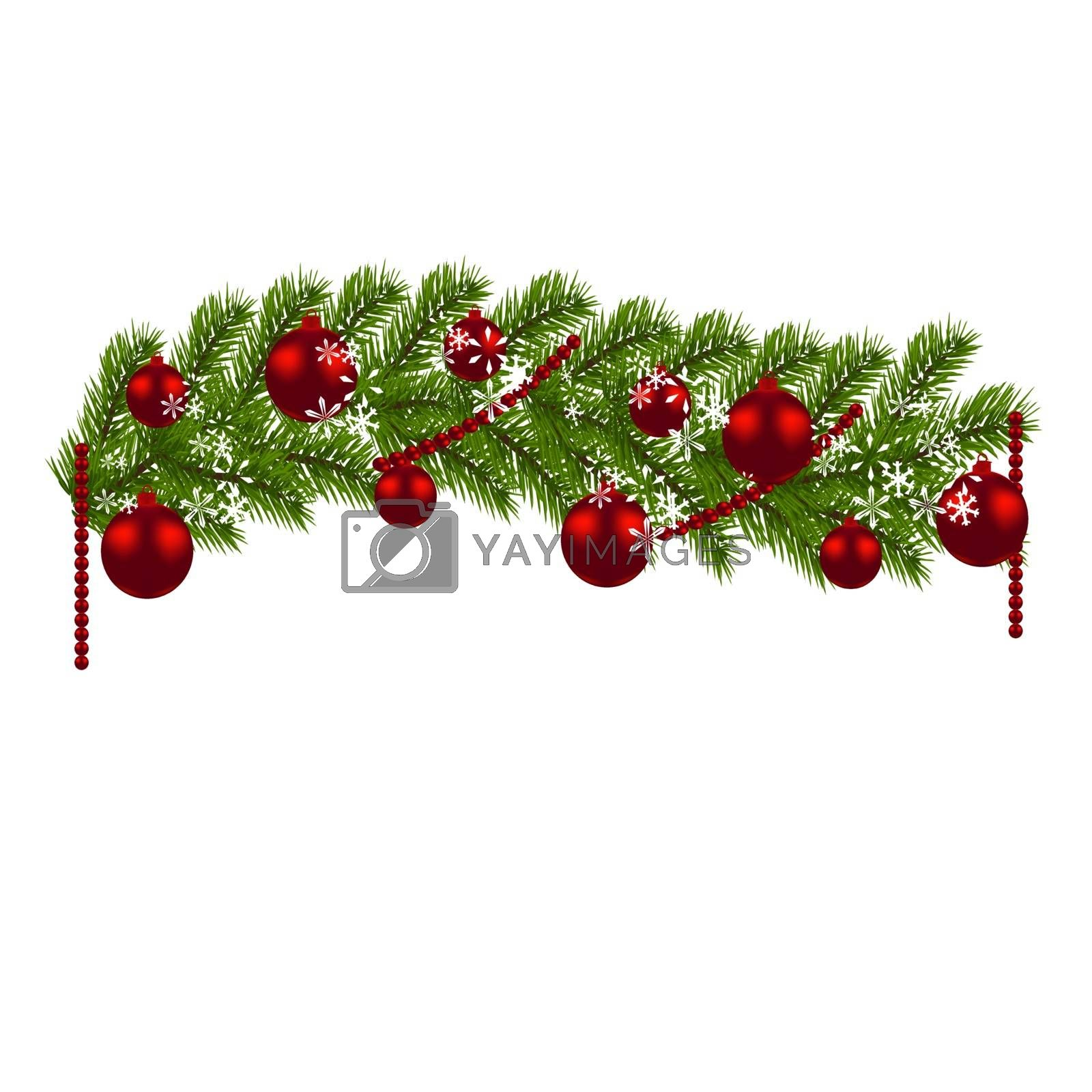 Christmas decoration. Green branches of a Christmas tree with red balls and snowflakes on a white background. New Year decoration. Vector illustration
