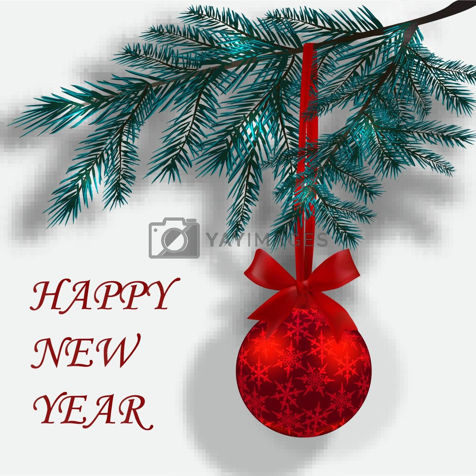Blue branches of Christmas trees on a white background with shadow. Red ball with snowflakes and ribbon bow. The inscription Happy New Year. Vector illustration