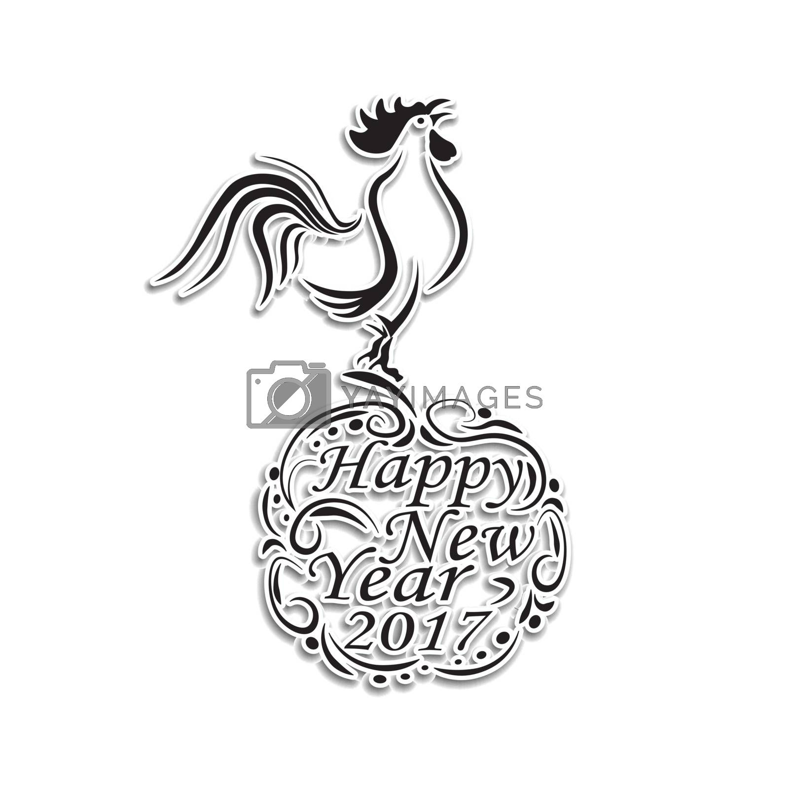 Christmas, New Year festive labels for postcards. Rooster on the stylized balloon with congratulations. 2017 cock. . Happy New Year. vector illustration