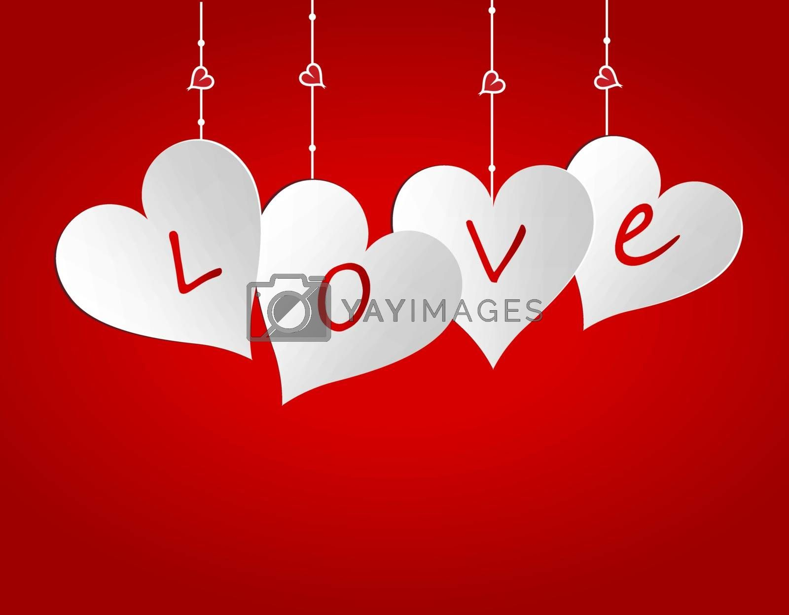 Four hearts on a gradient background. Cut out the paper. Greeting card. Love. Vector illustration