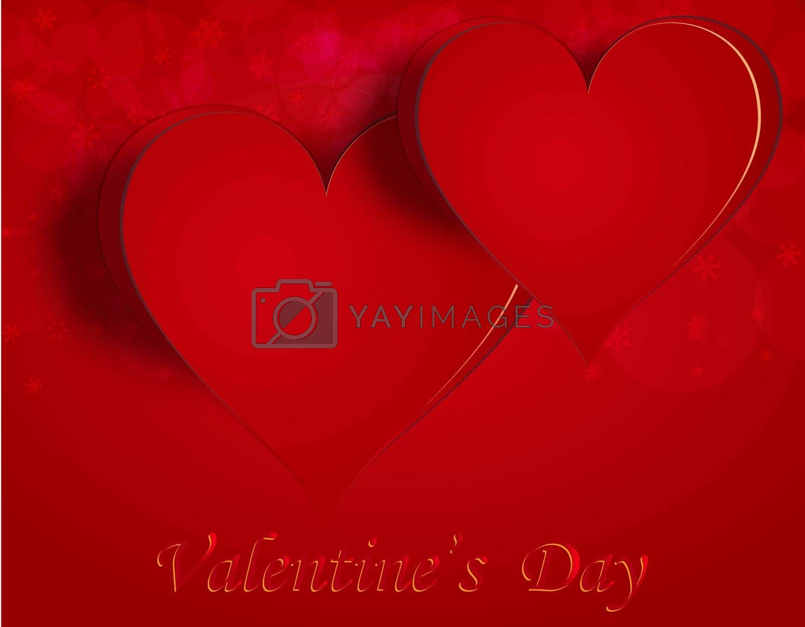 Two enamored hearts on a celebratory background. Greeting inscription Happy Valentine. Vector illustration