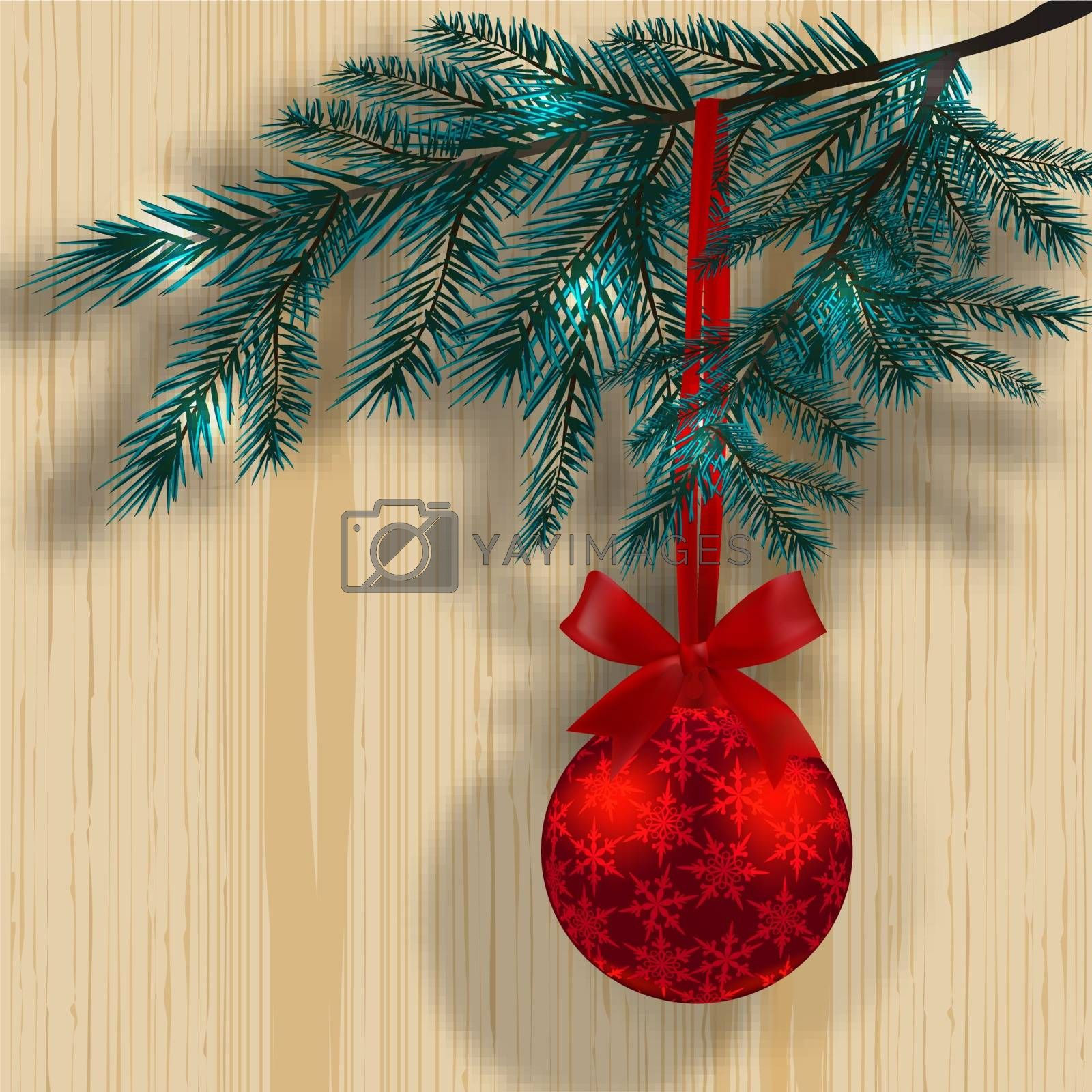 Blue Christmas tree branches on the background of a wooden texture with shadow. Red ball with snowflakes and ribbon bow. Vector illustration