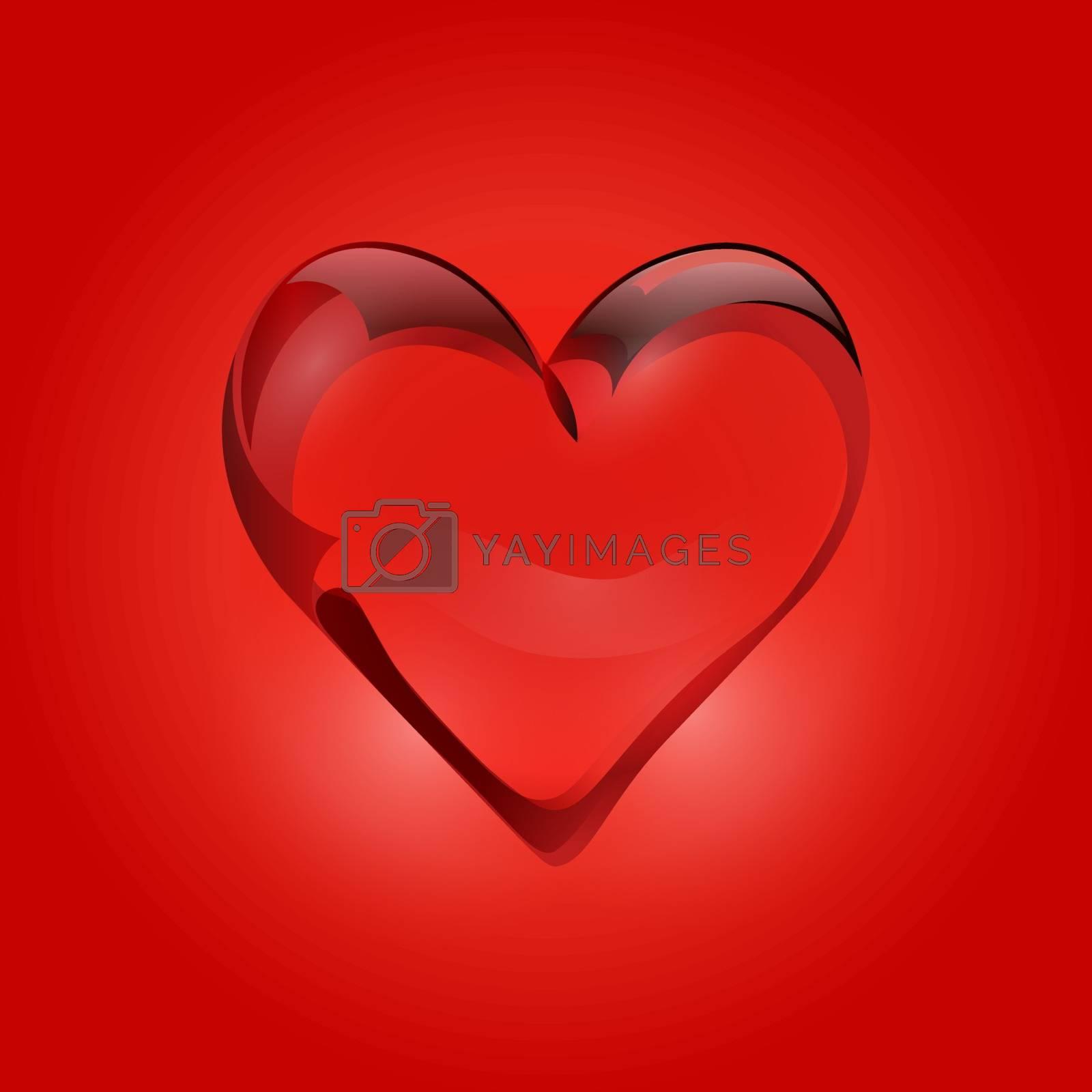 Transparent heart of rock crystal. . Valentine s Day Vector illustration