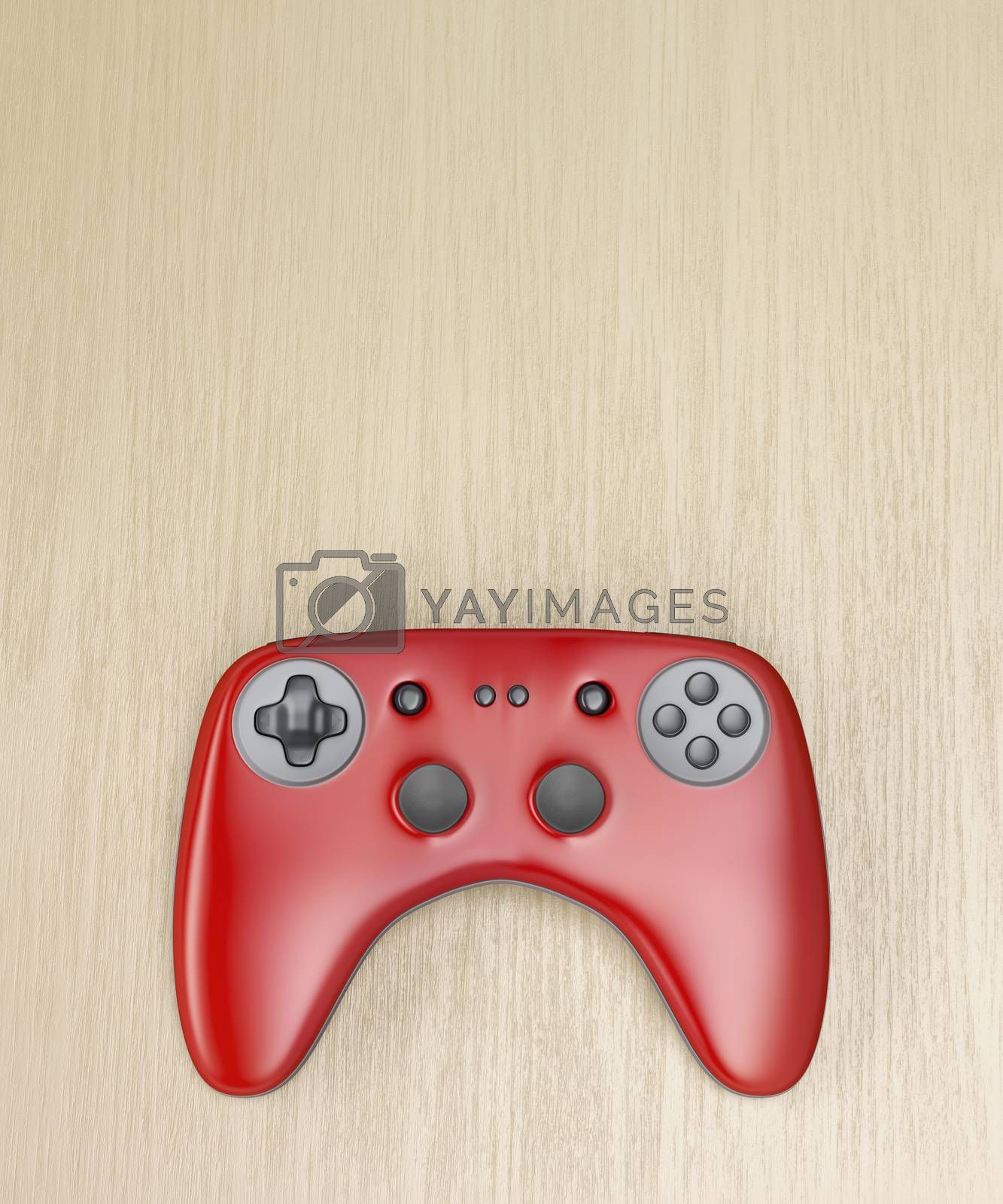 Red wireless gamepad on wooden desk, top view