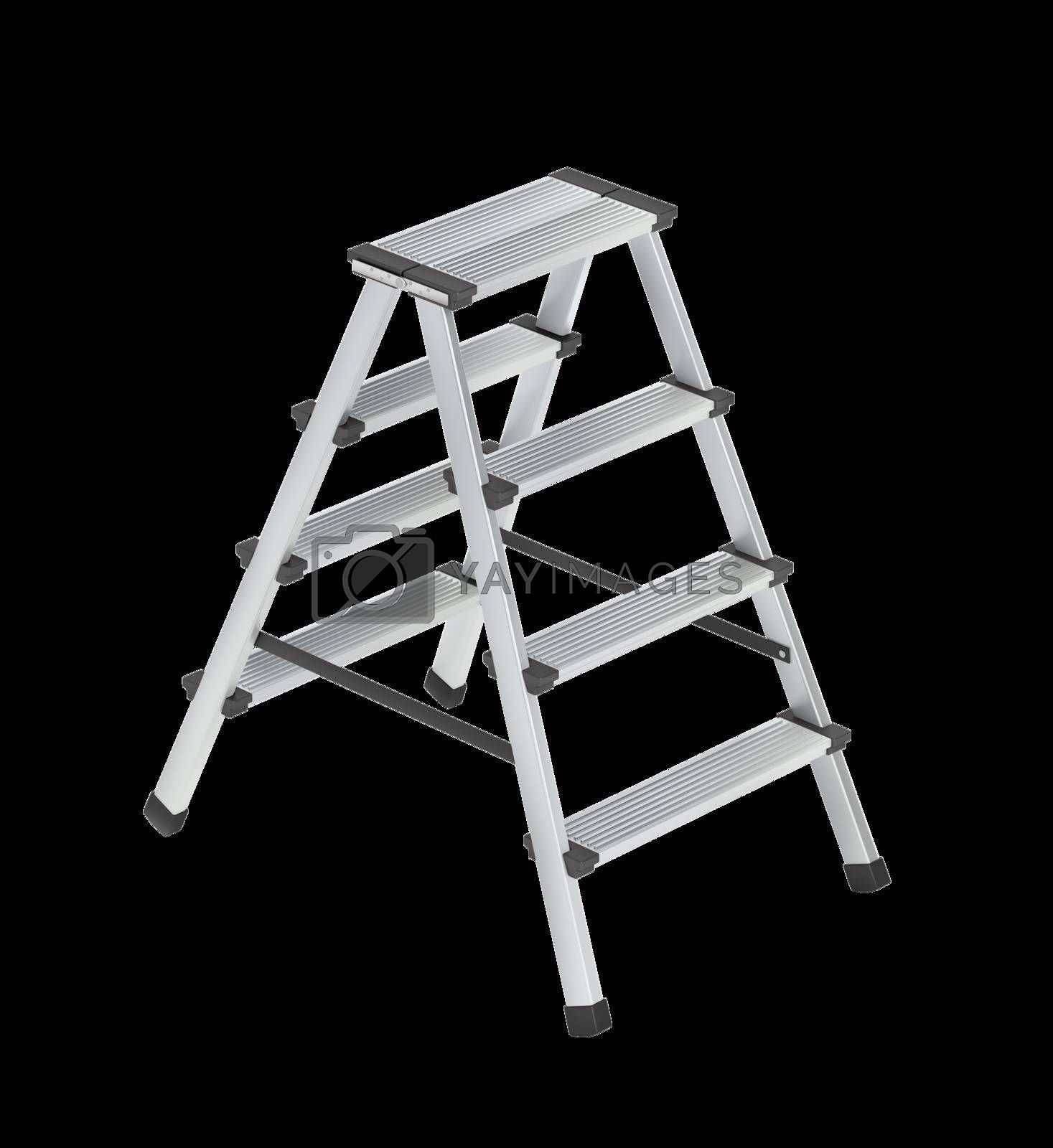 Aluminum ladder on white background