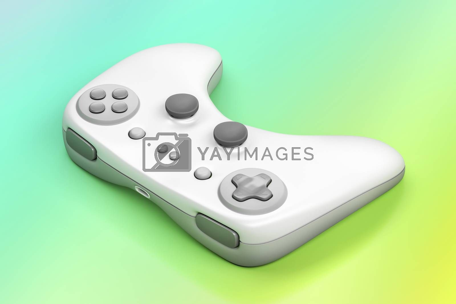 White wireless gamepad on colorful background