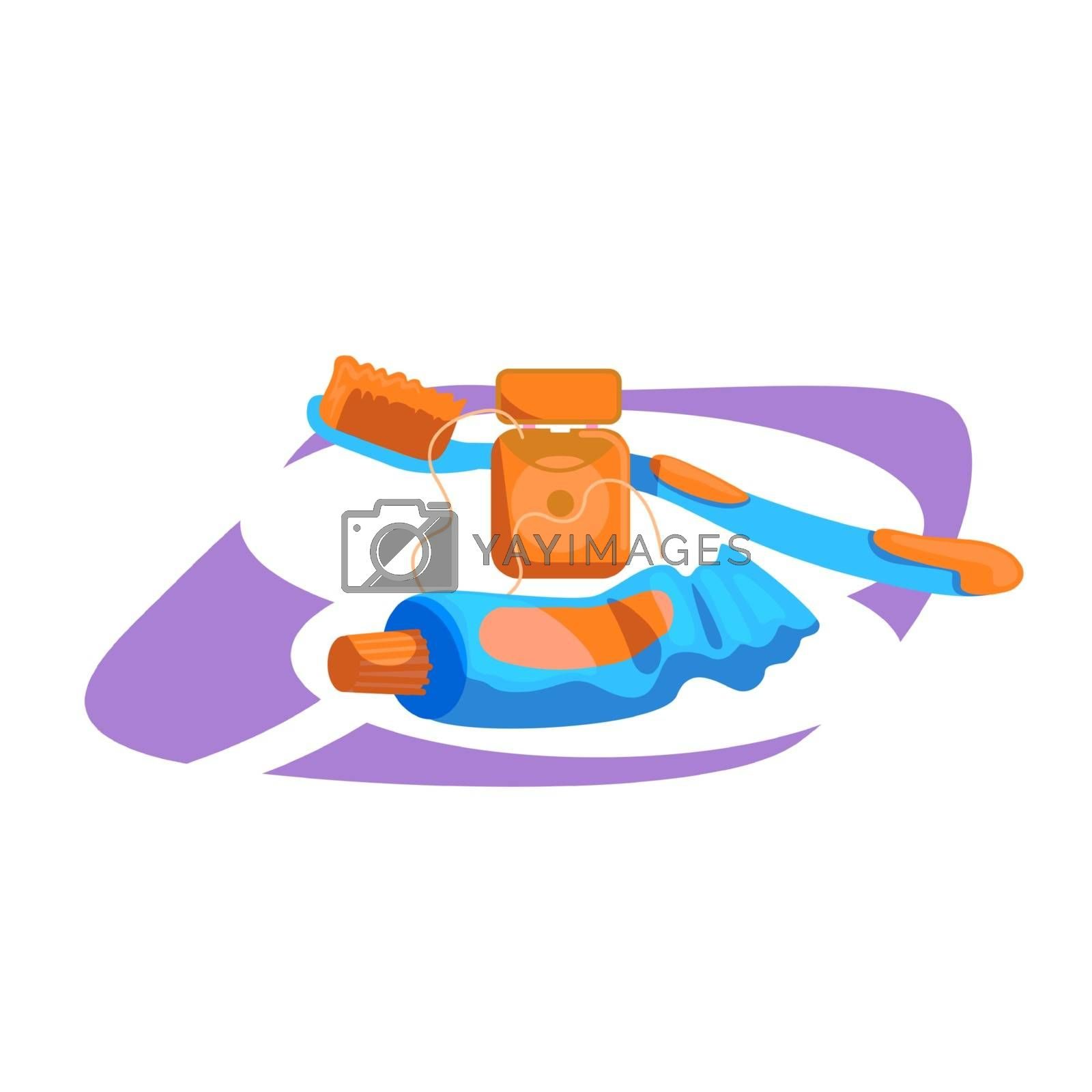 Tools for dental hygiene flat color vector object by ntl