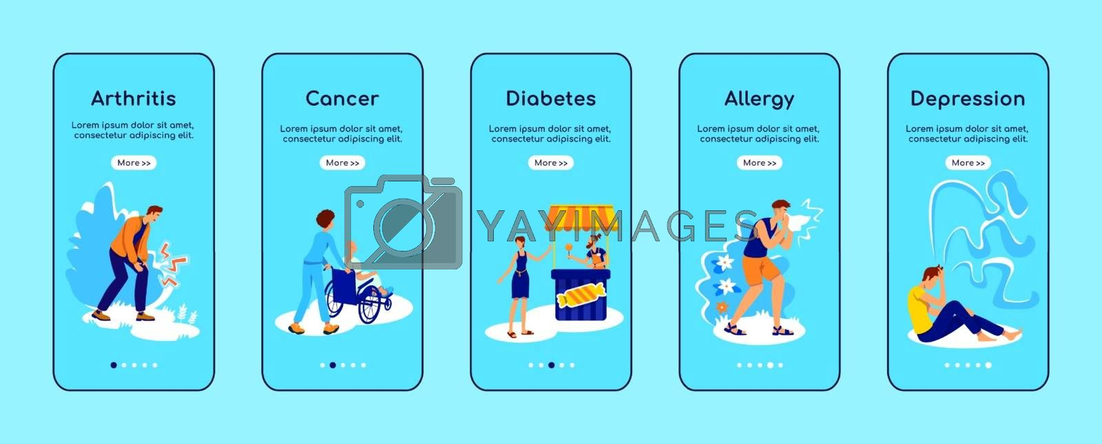 Chronic diseases onboarding mobile app screen flat vector template by ntl