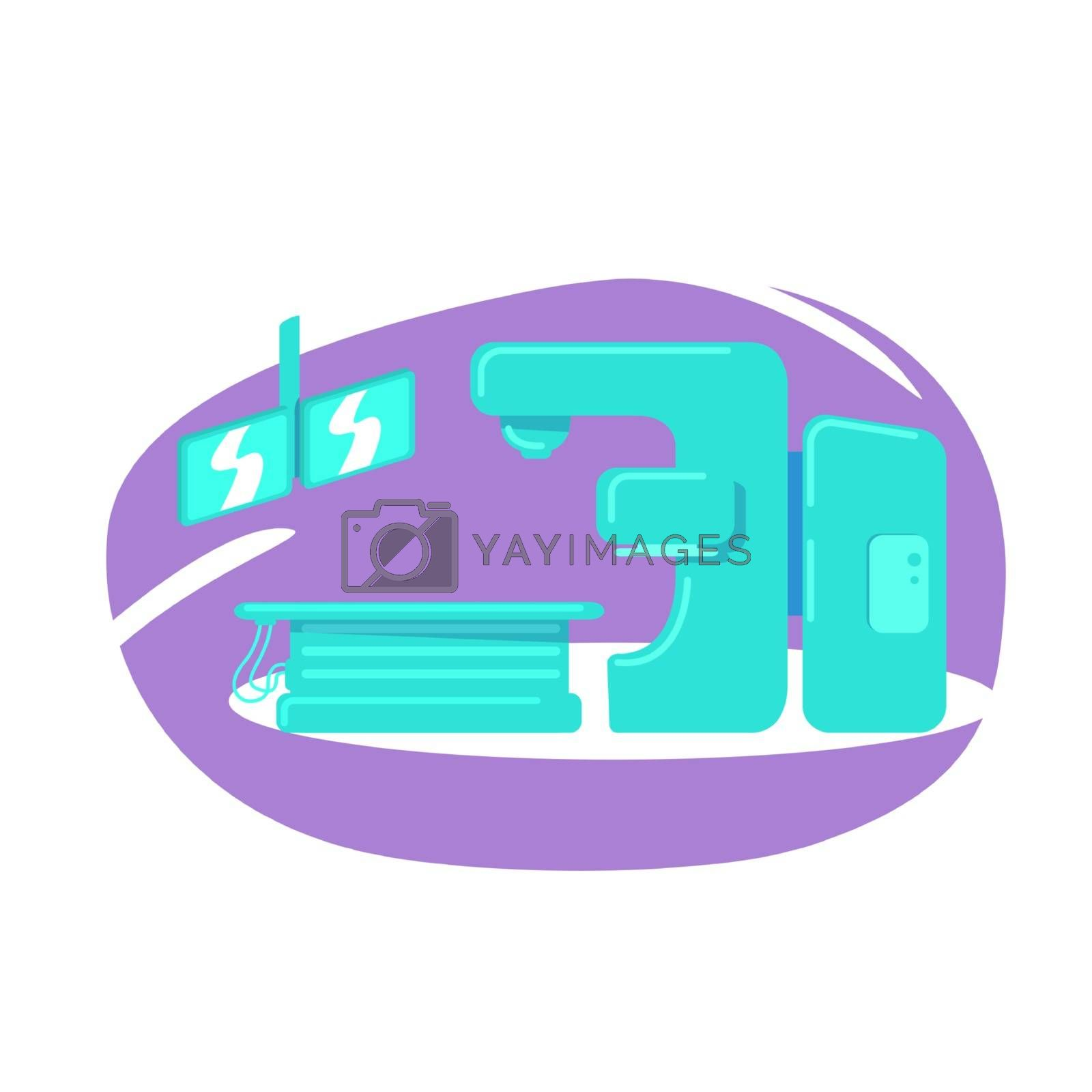 Hospital machine flat color vector object by ntl