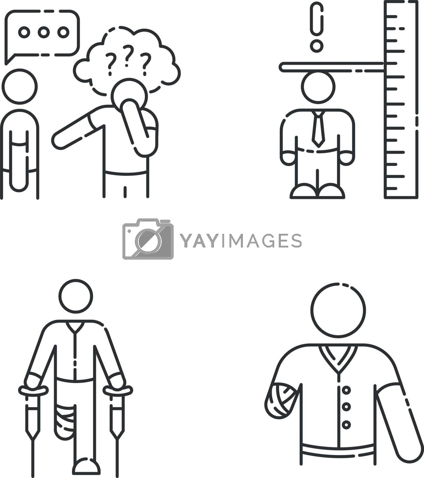 Medical condition linear icons set. Asperger syndrome. Difficulty with social interaction. Customizable thin line contour symbols. Isolated vector outline illustrations. Editable stroke