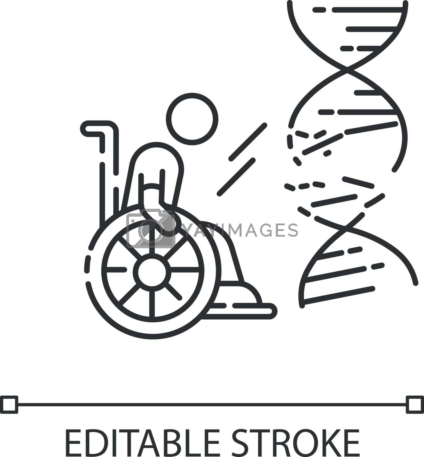 Genetic conditions chalk white icon on black background. Handicapped man with chronic disease. Patient in wheelchair. Medical problem from trauma. Isolated vector chalkboard illustration