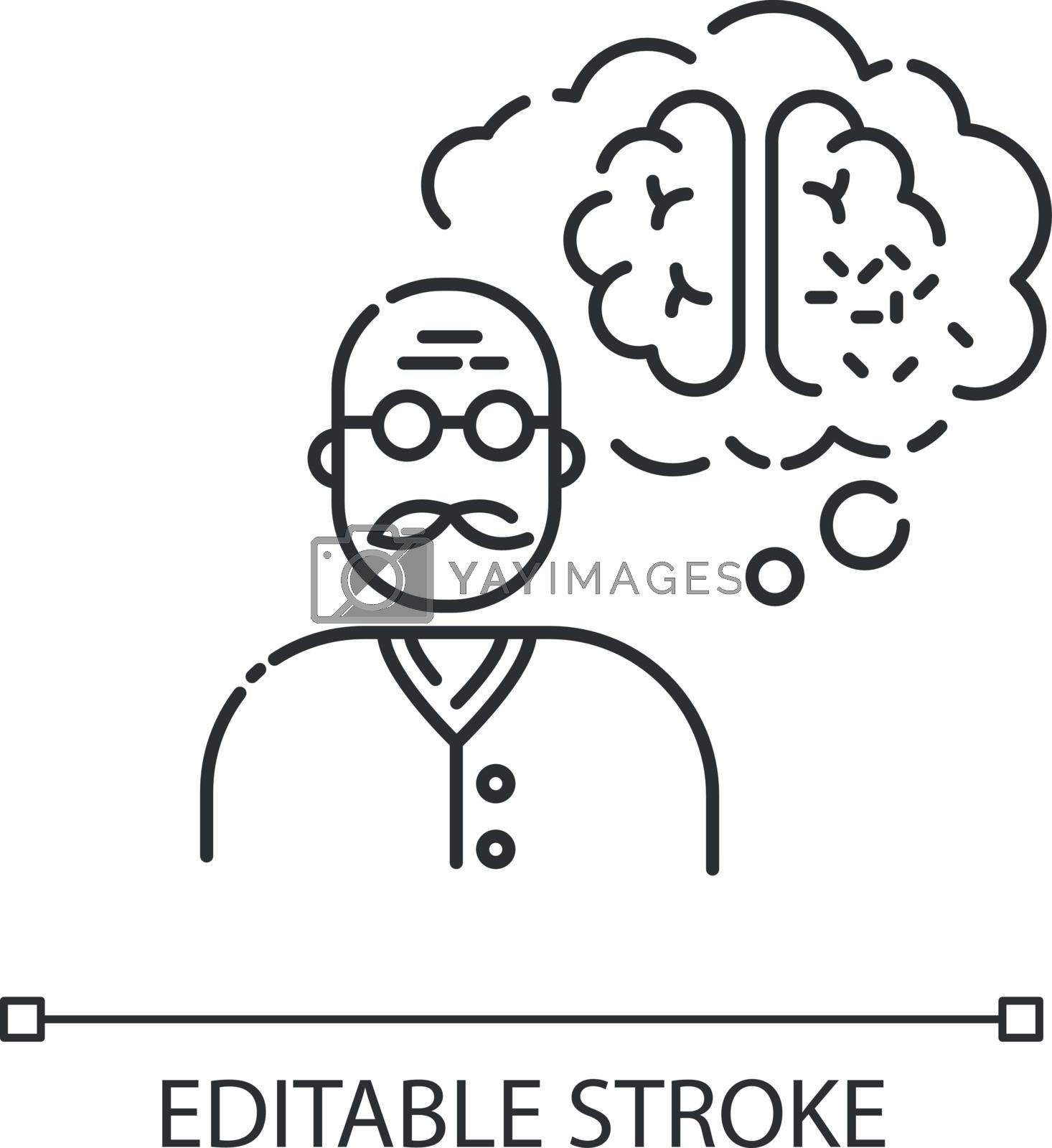 Dementia chalk white icon on black background. Alzheimer from aging. Senior man with neurological disability. Patient with health care problem. Isolated vector chalkboard illustration