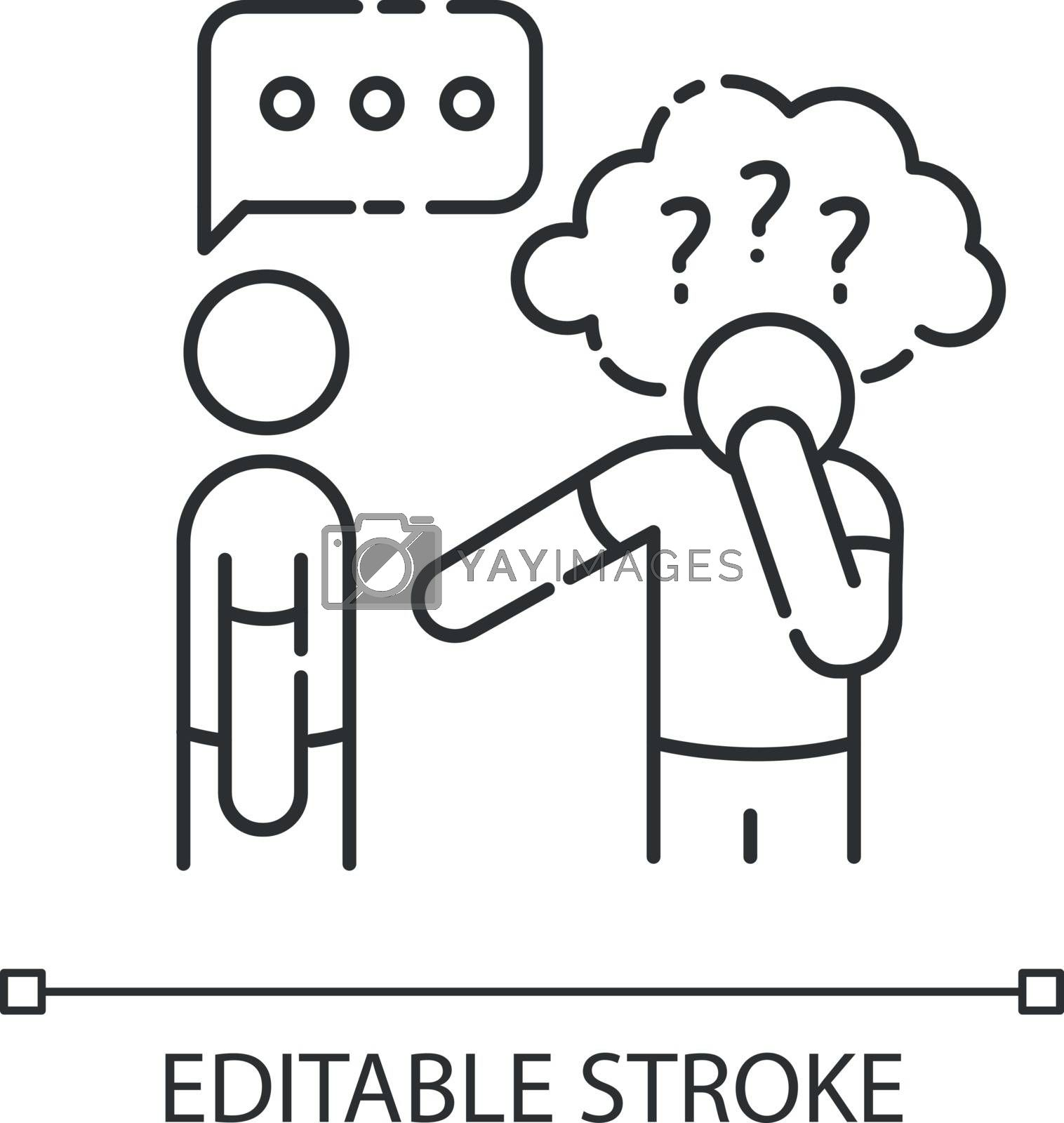 Asperger syndrome linear icon. Difficulty with communication. Social anxiety. Man with disorder. Thin line customizable illustration. Contour symbol. Vector isolated outline drawing. Editable stroke