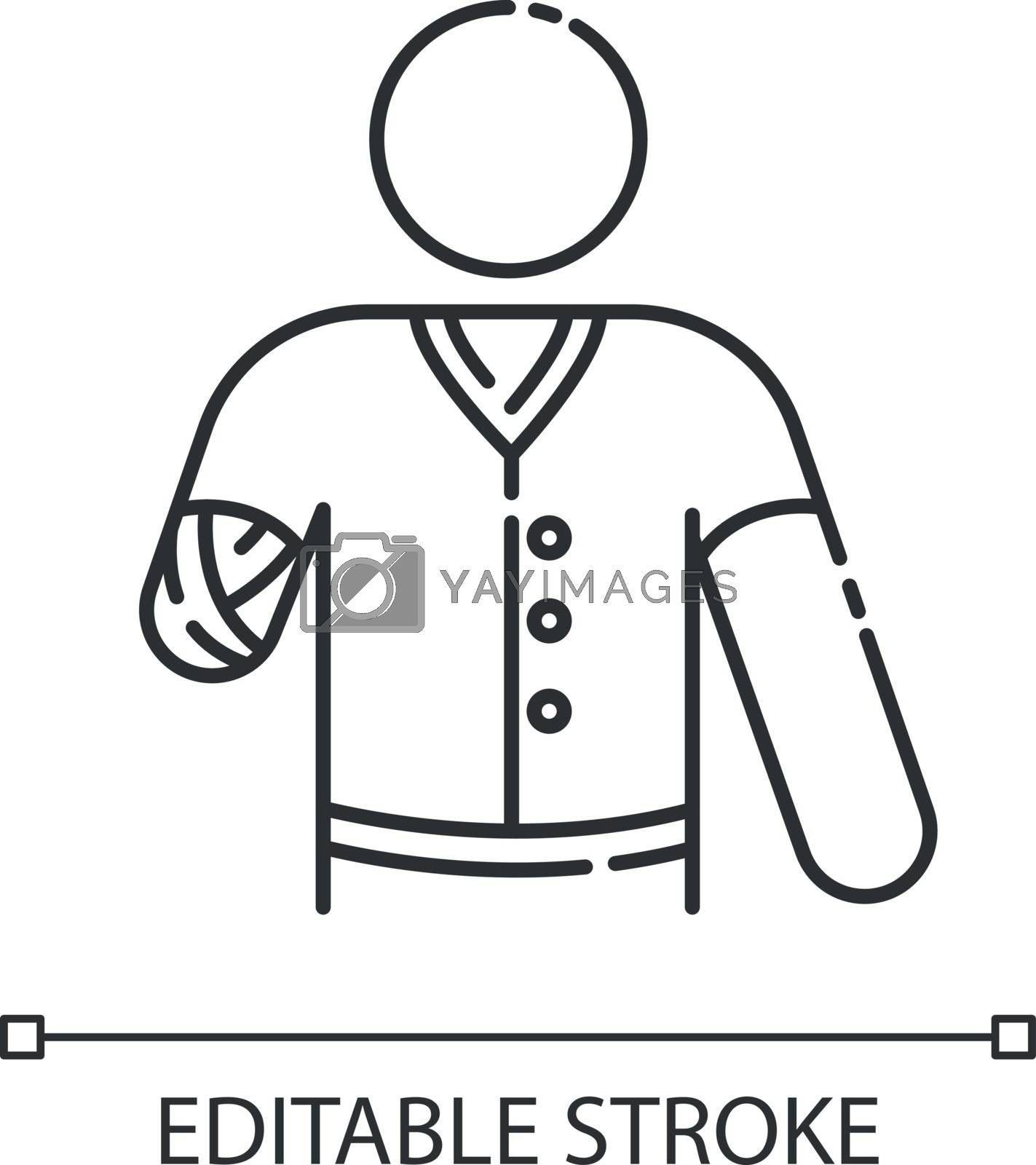 Hand amputee linear icon. Disabled man. Damaged hand from injury. Patient with trauma. Thin line customizable illustration. Contour symbol. Vector isolated outline drawing. Editable stroke