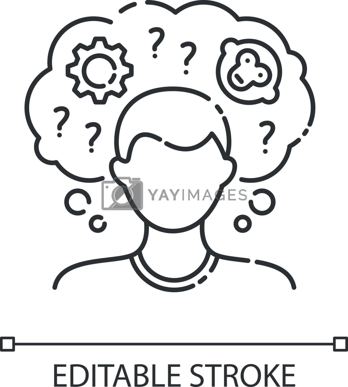 Intellectual disability linear icon. Person with short term memory loss. Think in confusion. Thin line customizable illustration. Contour symbol. Vector isolated outline drawing. Editable stroke