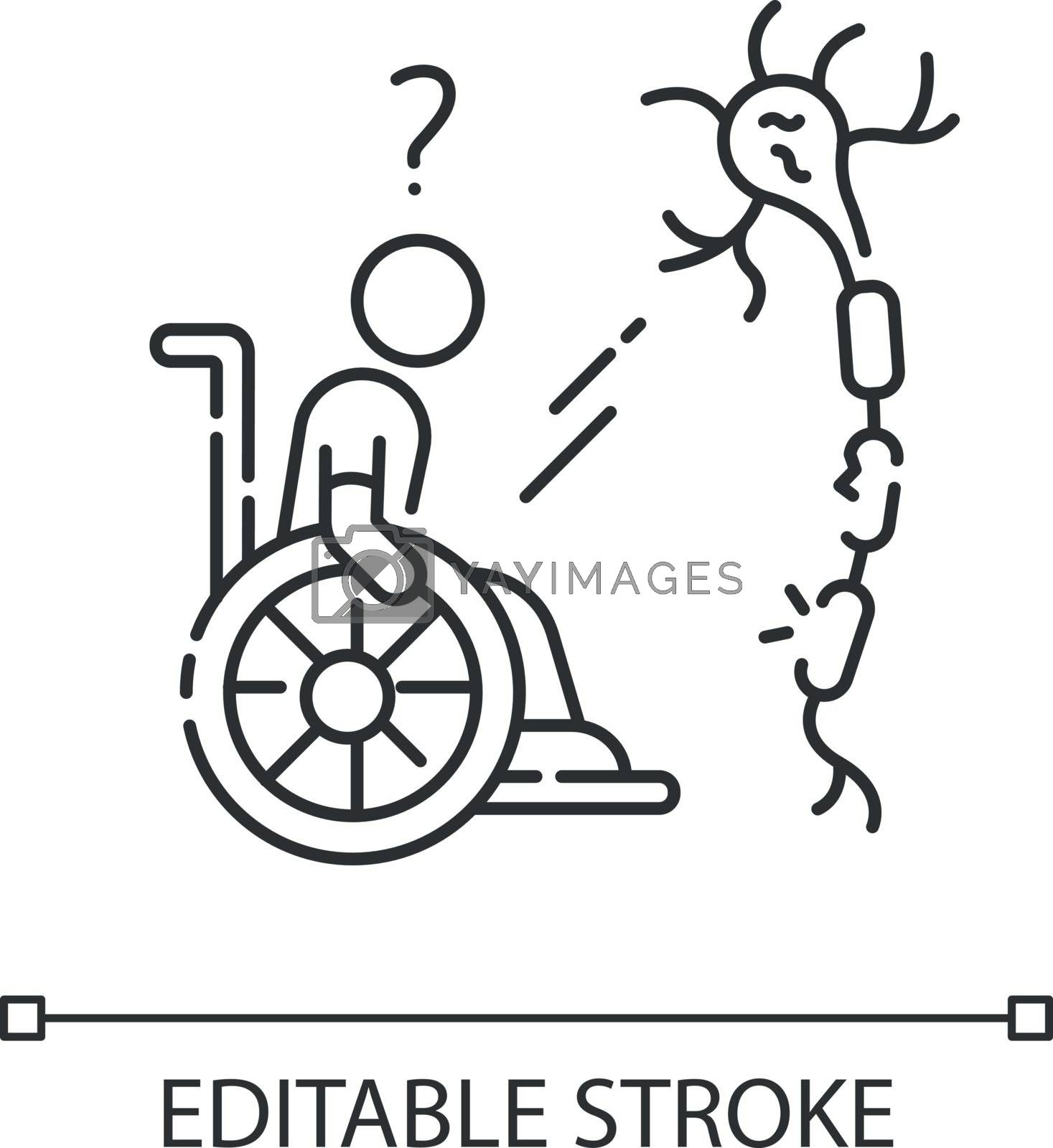 Multiple sclerosis linear icon. Handicapped man. Neurology problem. Trauma treatment. Thin line customizable illustration. Contour symbol. Vector isolated outline drawing. Editable stroke