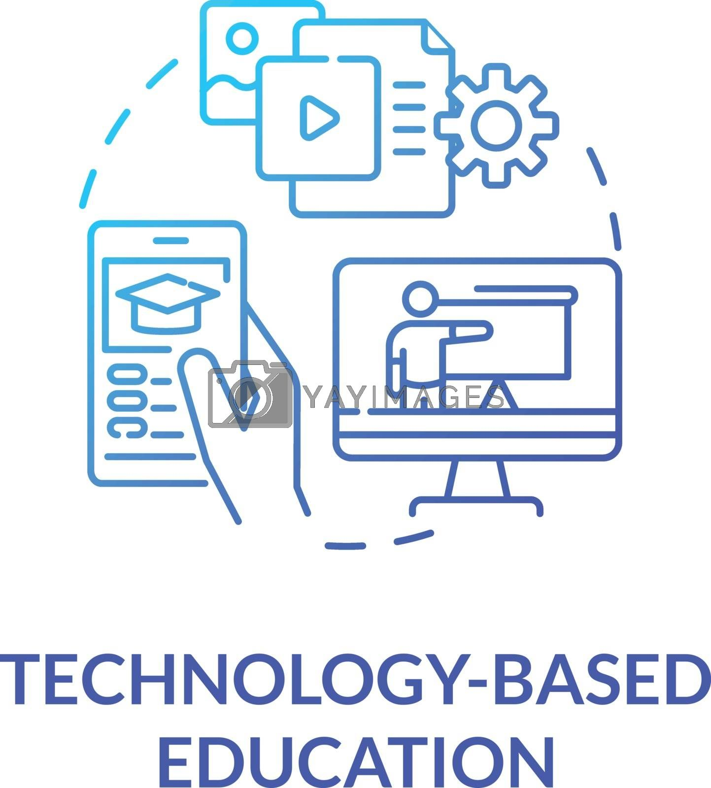 Technology based education concept icon. Mobile and computer learning. Elearning. Webinars. Online education idea thin line illustration. Vector isolated outline RGB color drawing