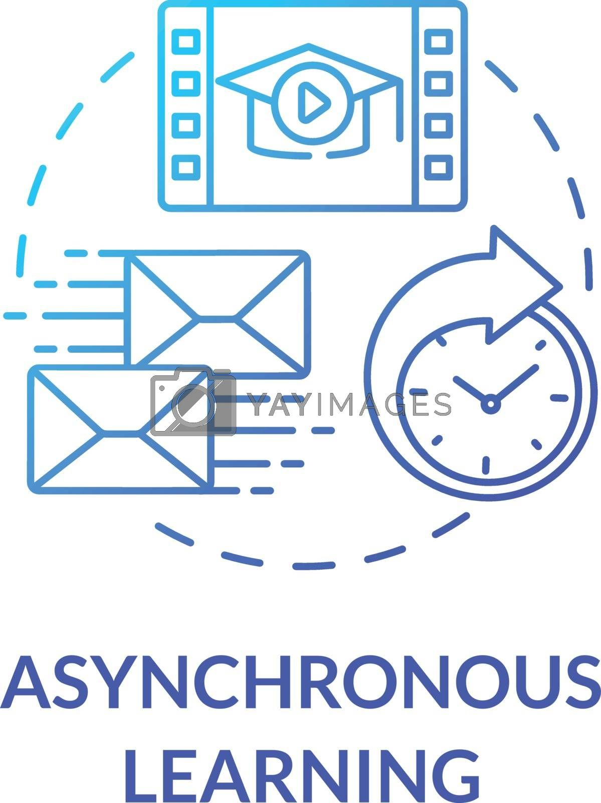 Asynchronous learning concept icon. Remote learning environment. Flexible education. Distance and correspondence education idea thin line illustration. Vector isolated outline RGB color drawing
