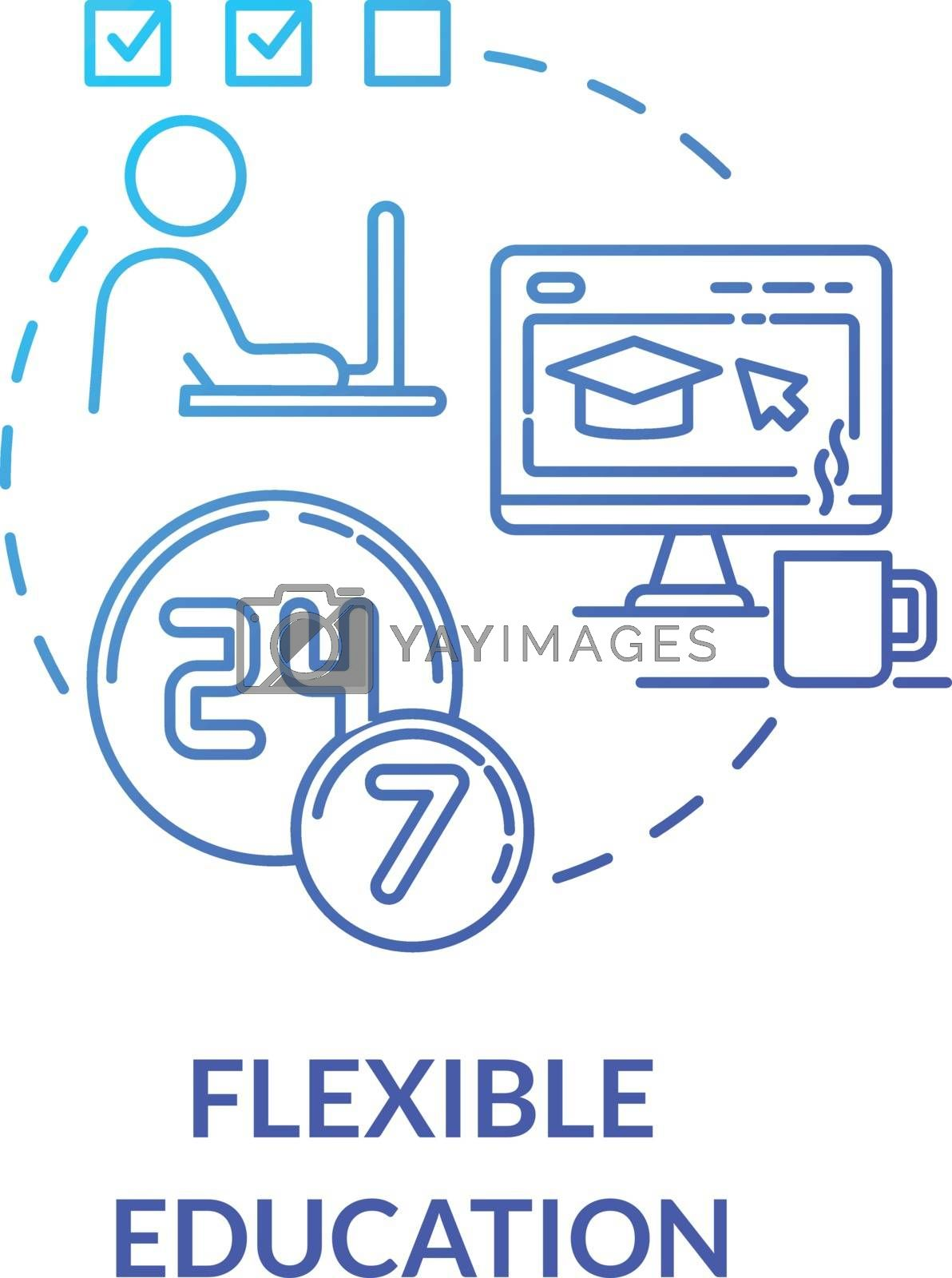 Flexible education concept icon. Remote learning. Online universities. E learning and teaching. Homeschooling idea thin line illustration. Vector isolated outline RGB color drawing