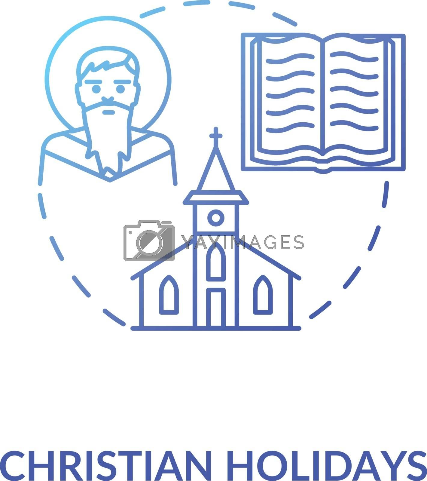 Christian holidays concept icon. Traditional religious events and festivals. Christianity idea thin line illustration. God, church and bible vector isolated outline RGB color drawing