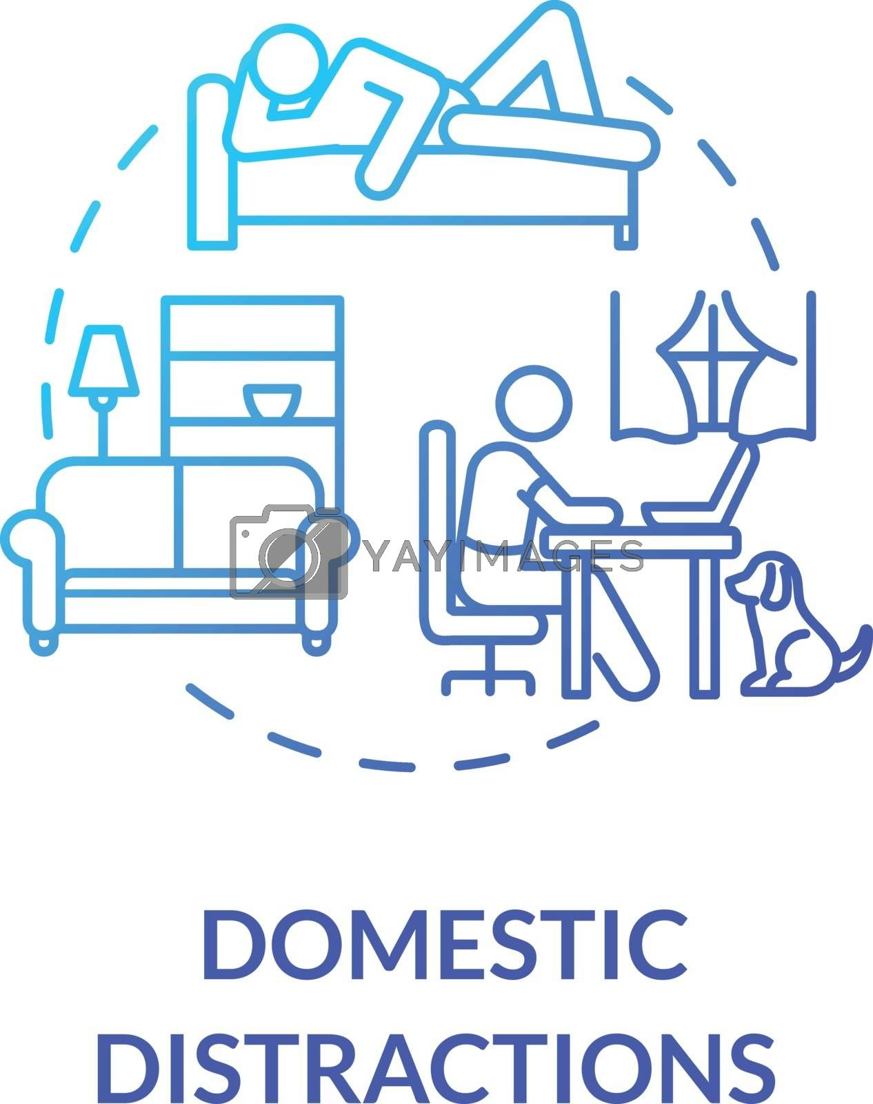 Domestic distractions concept icon. Home based education. Elearning. Distance learning and lessons. Procrastination idea thin line illustration. Vector isolated outline RGB color drawing