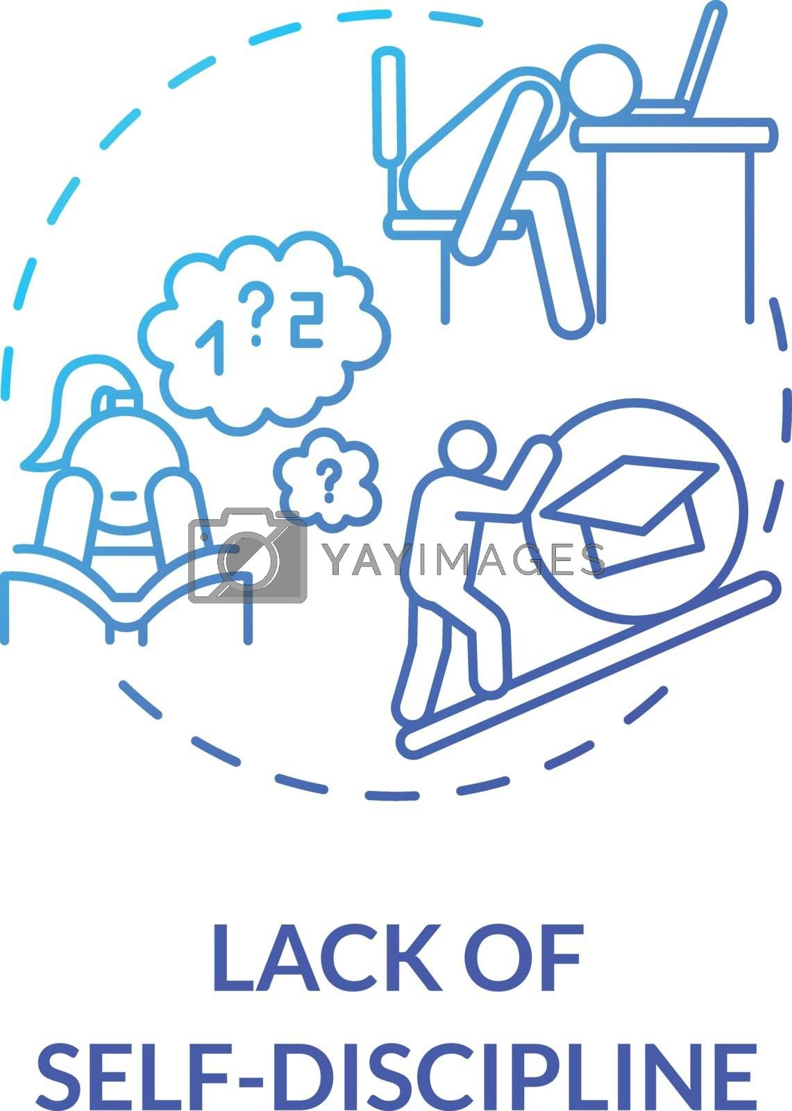 Lack of self discipline concept icon. Distance learning. Lack of motivation. Students exhaustion. Academic burnout idea thin line illustration. Vector isolated outline RGB color drawing