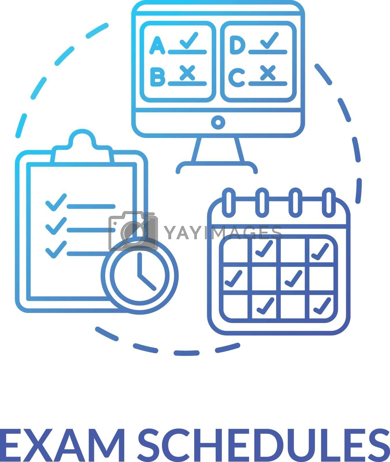 Exam schedules concept icon. Remote education process. Midterms and final examinations. Curriculum. Academic calendar idea thin line illustration. Vector isolated outline RGB color drawing