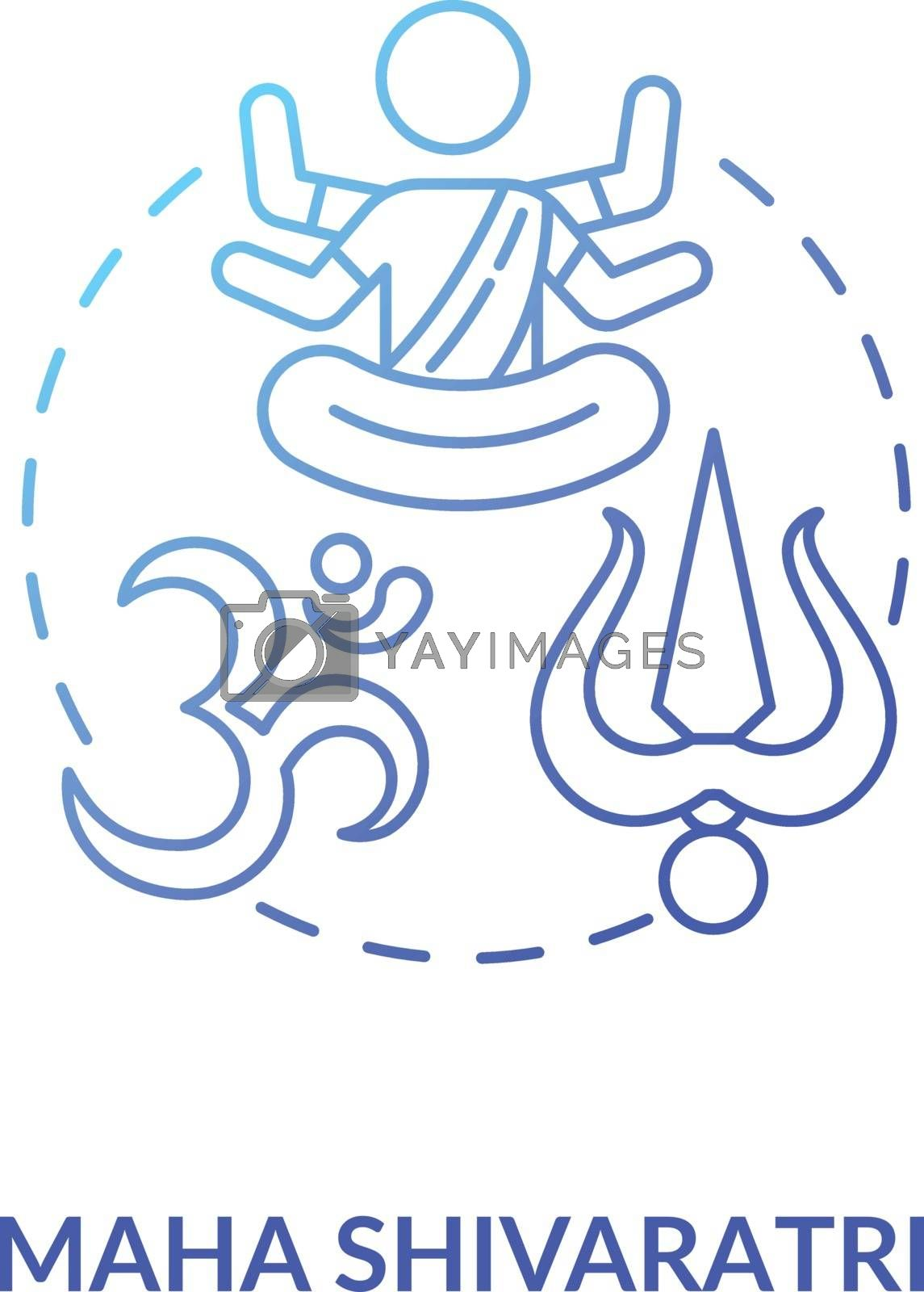Maha shivaratri concept icon. Traditional hindu festival idea thin line illustration. Religious holiday of India. Shiva and hinduism sign vector isolated outline RGB color drawing