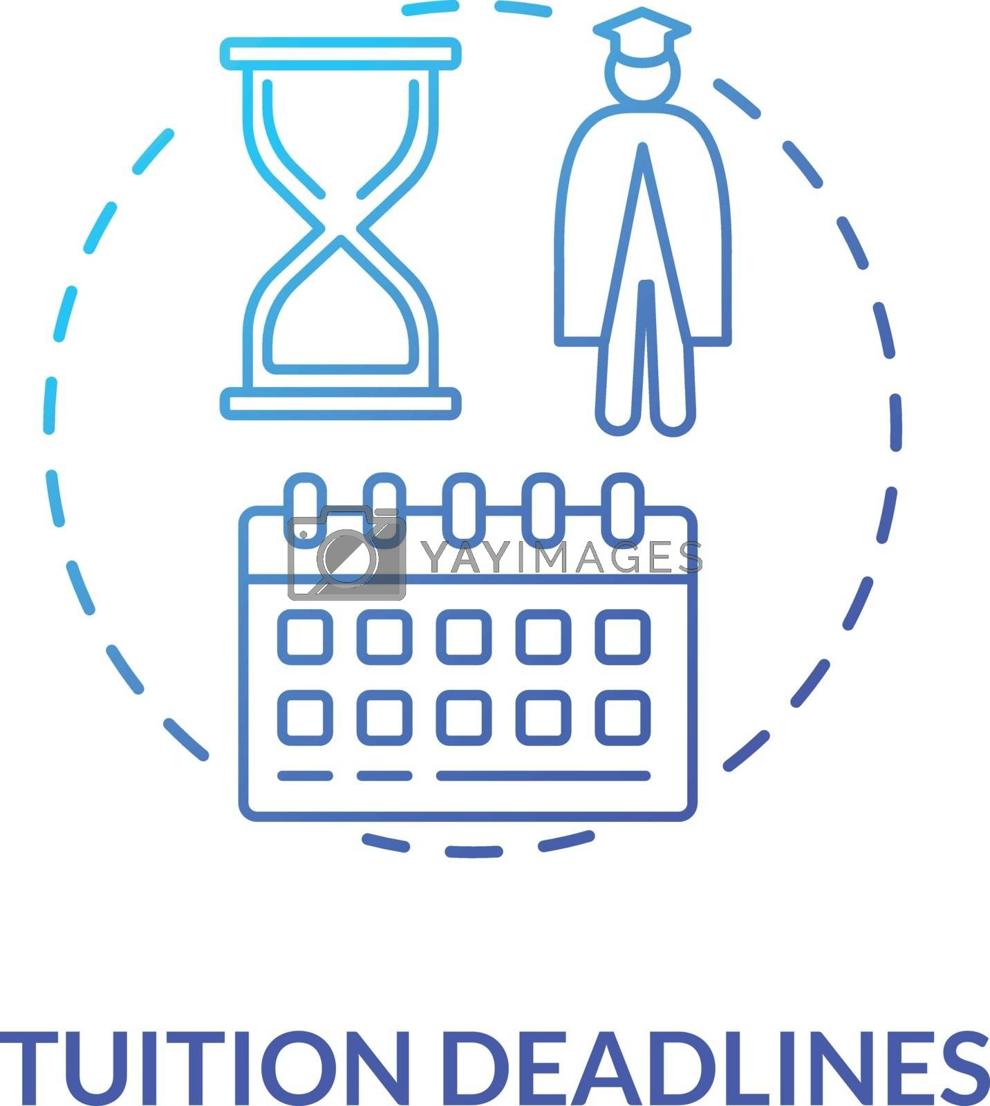 Tuition deadlines concept icon. Students deadlines calendar. College enrollment. Distance education. Univeristy payments idea thin line illustration. Vector isolated outline RGB color drawing