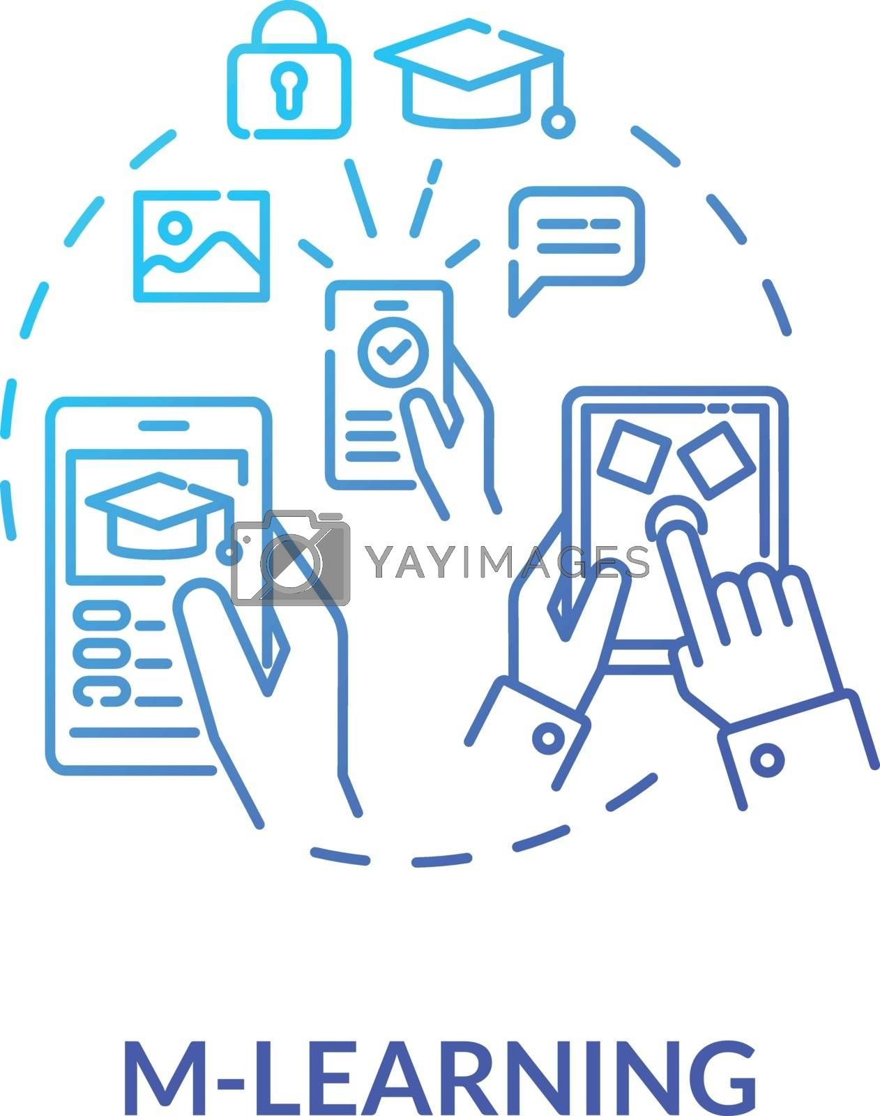 M learning concept icon. Virtual classrooms and lessons. E learning. Educational applications for smartphones idea thin line illustration. Vector isolated outline RGB color drawing