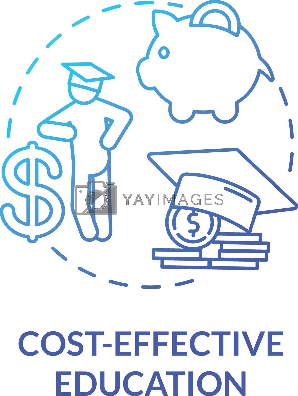 Cost effective education concept icon. Academic payment. Educational expenses. University enrollment. Distance education idea thin line illustration. Vector isolated outline RGB color drawing