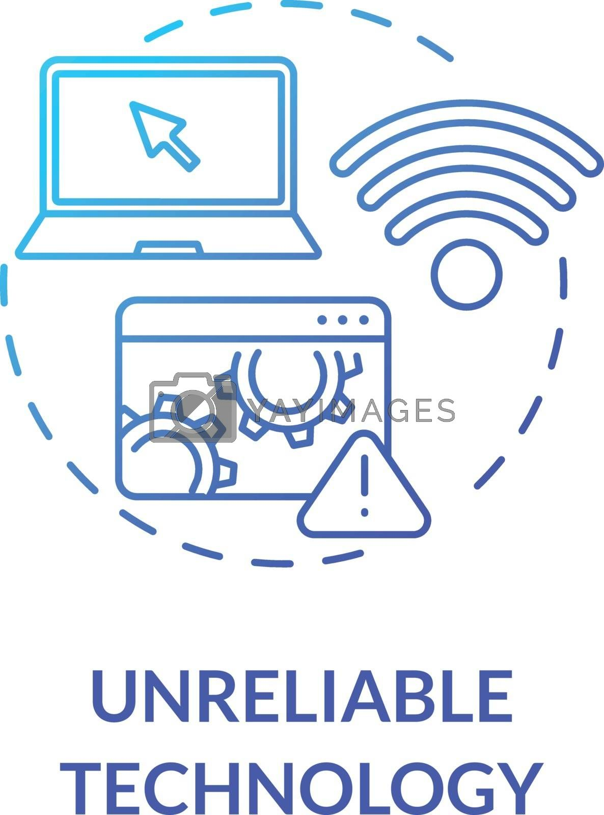 Unreliable technology concept icon. Distance education drawbacks. Online learning environment. Wifi connection problems idea thin line illustration. Vector isolated outline RGB color drawing