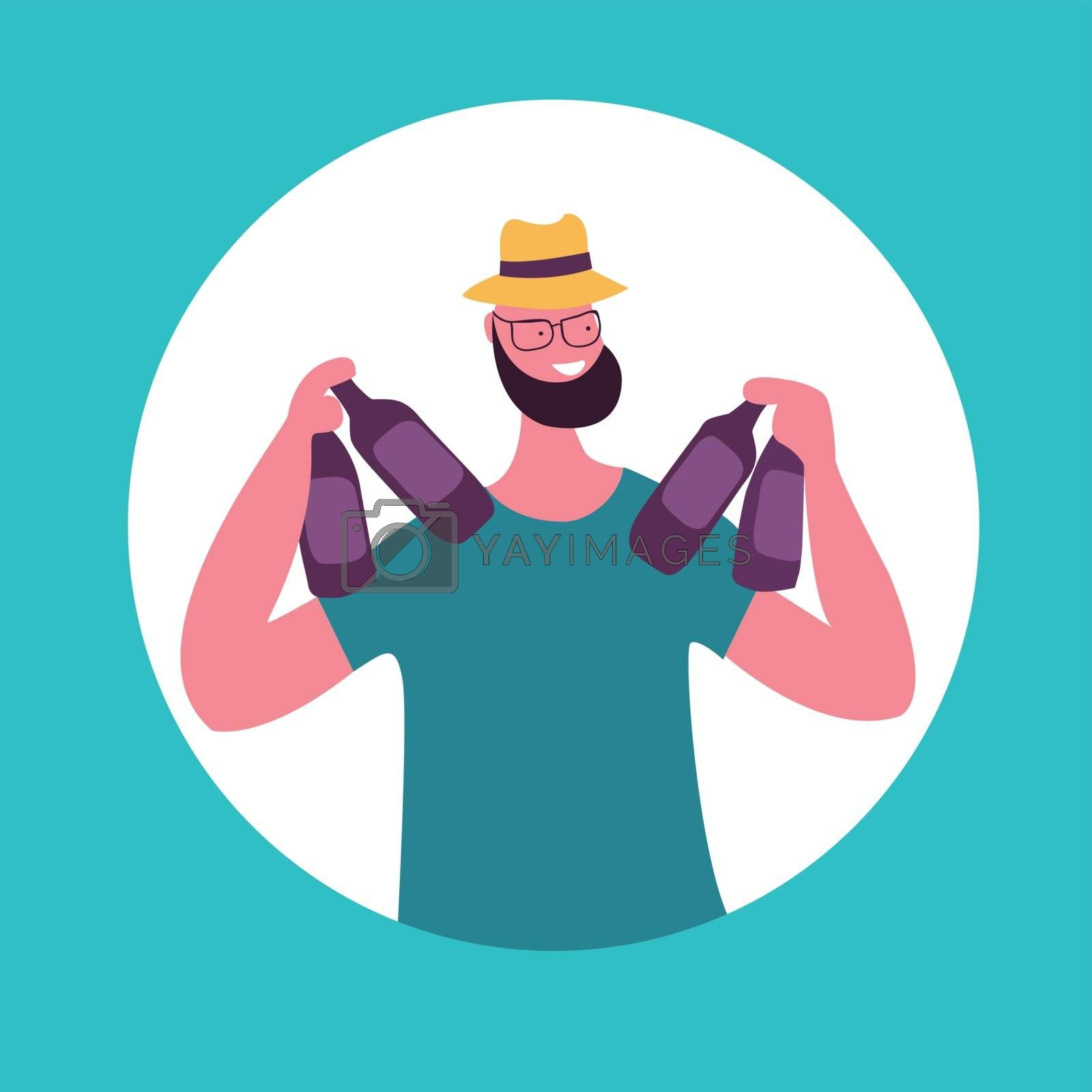 Smiling young man holding the beer bottles. Vector illustration in flat style